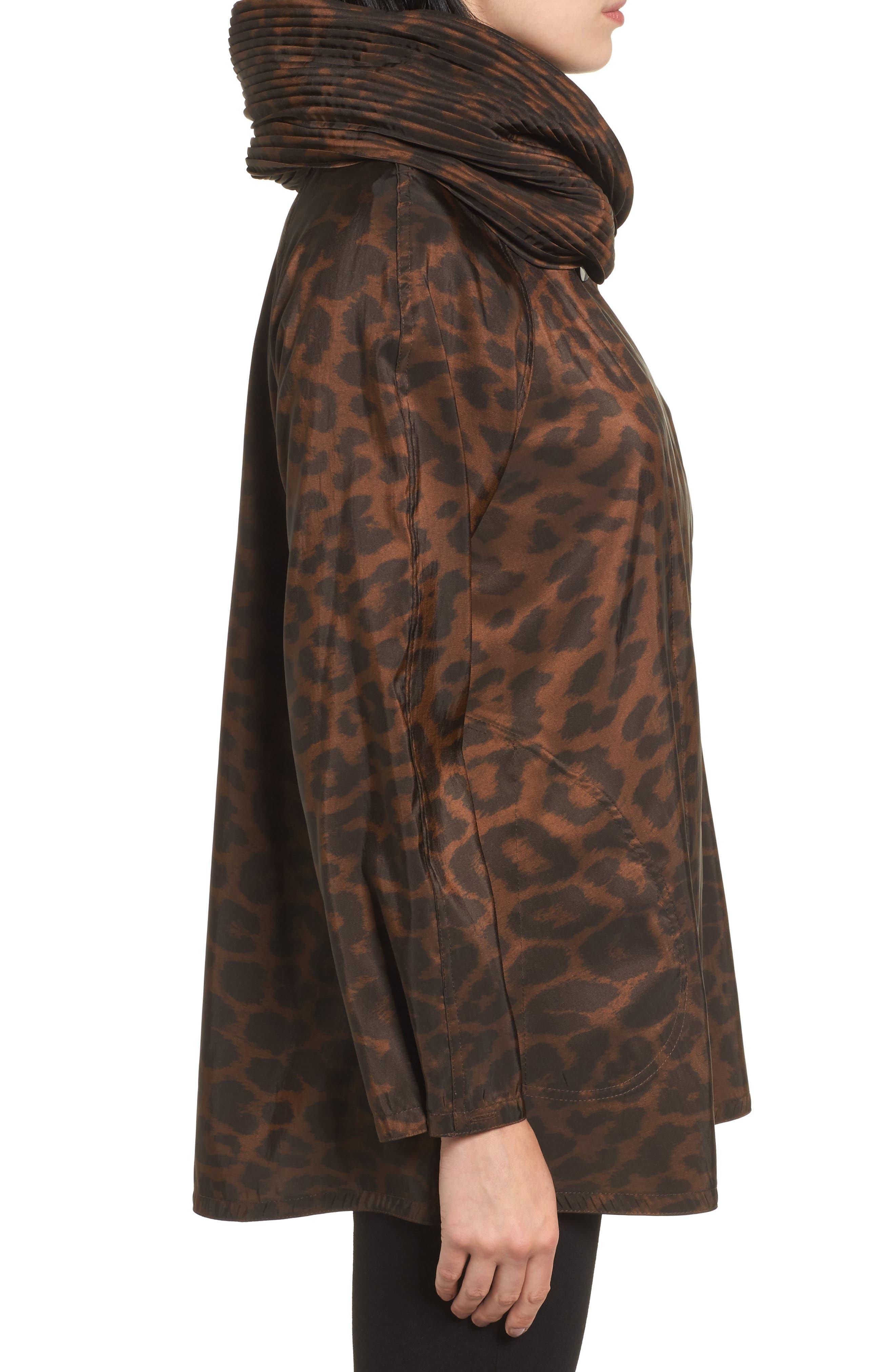 'Mini Donatella Leopard' Reversible Pleat Hood Packable Travel Coat,                             Alternate thumbnail 3, color,                             202