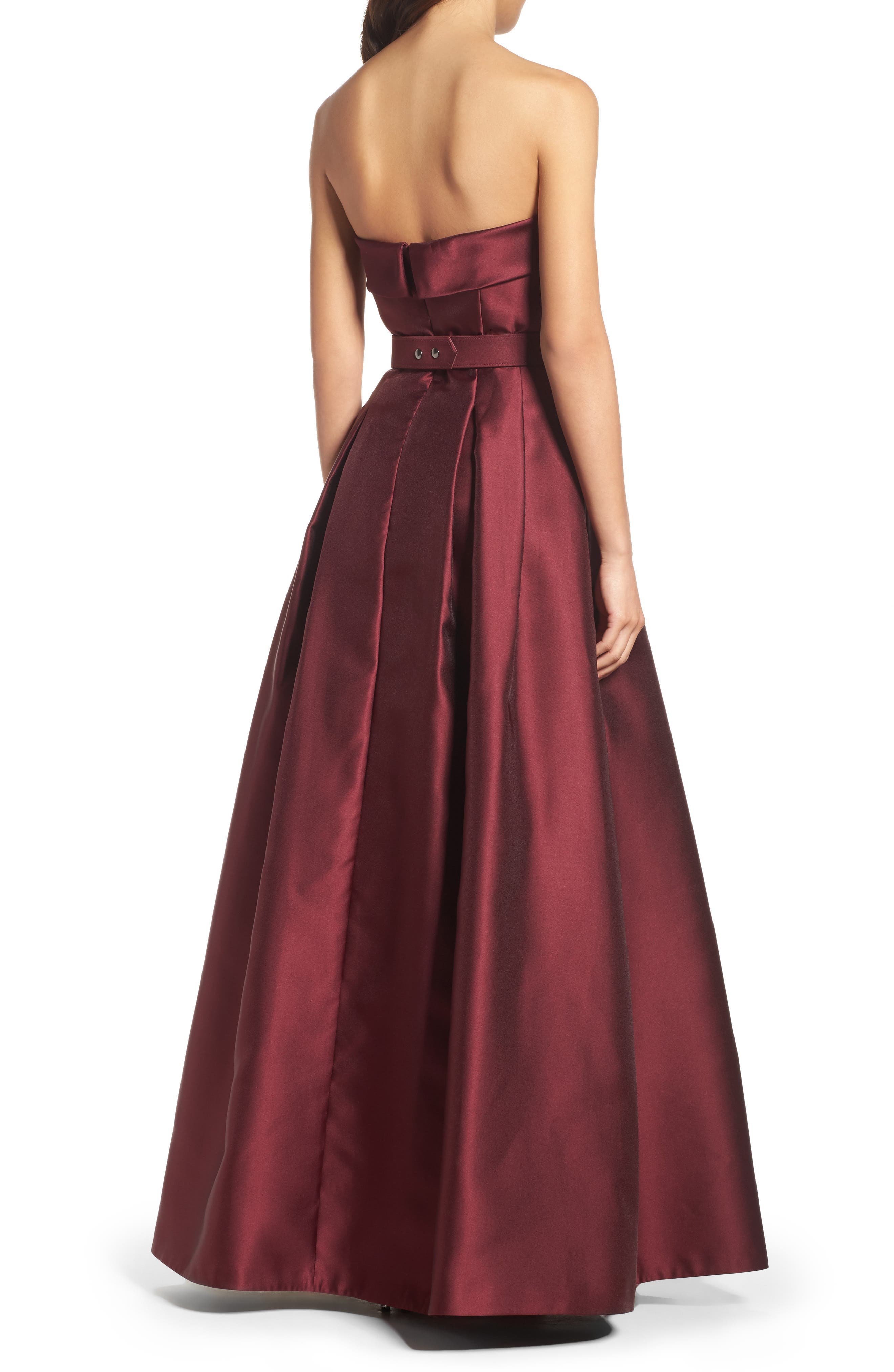 Embellished Belt Strapless Gown,                             Alternate thumbnail 2, color,