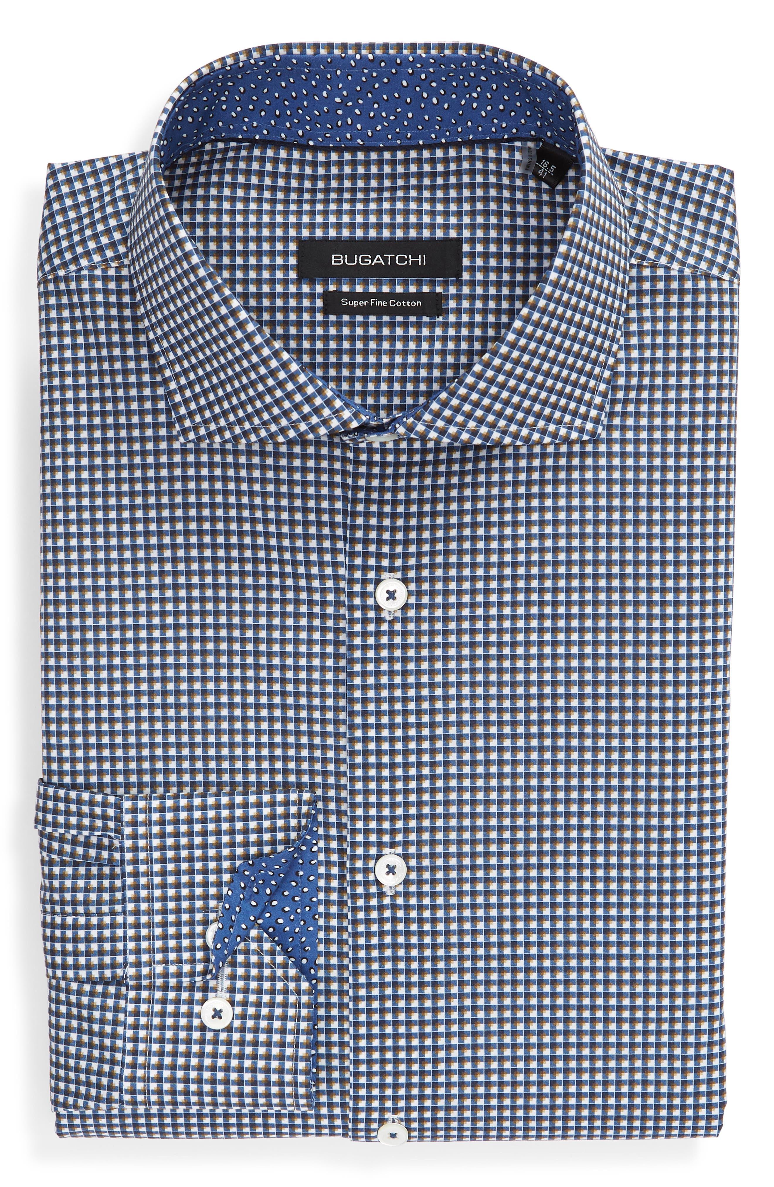 Trim Fit Check Dress Shirt,                         Main,                         color, CARAMEL