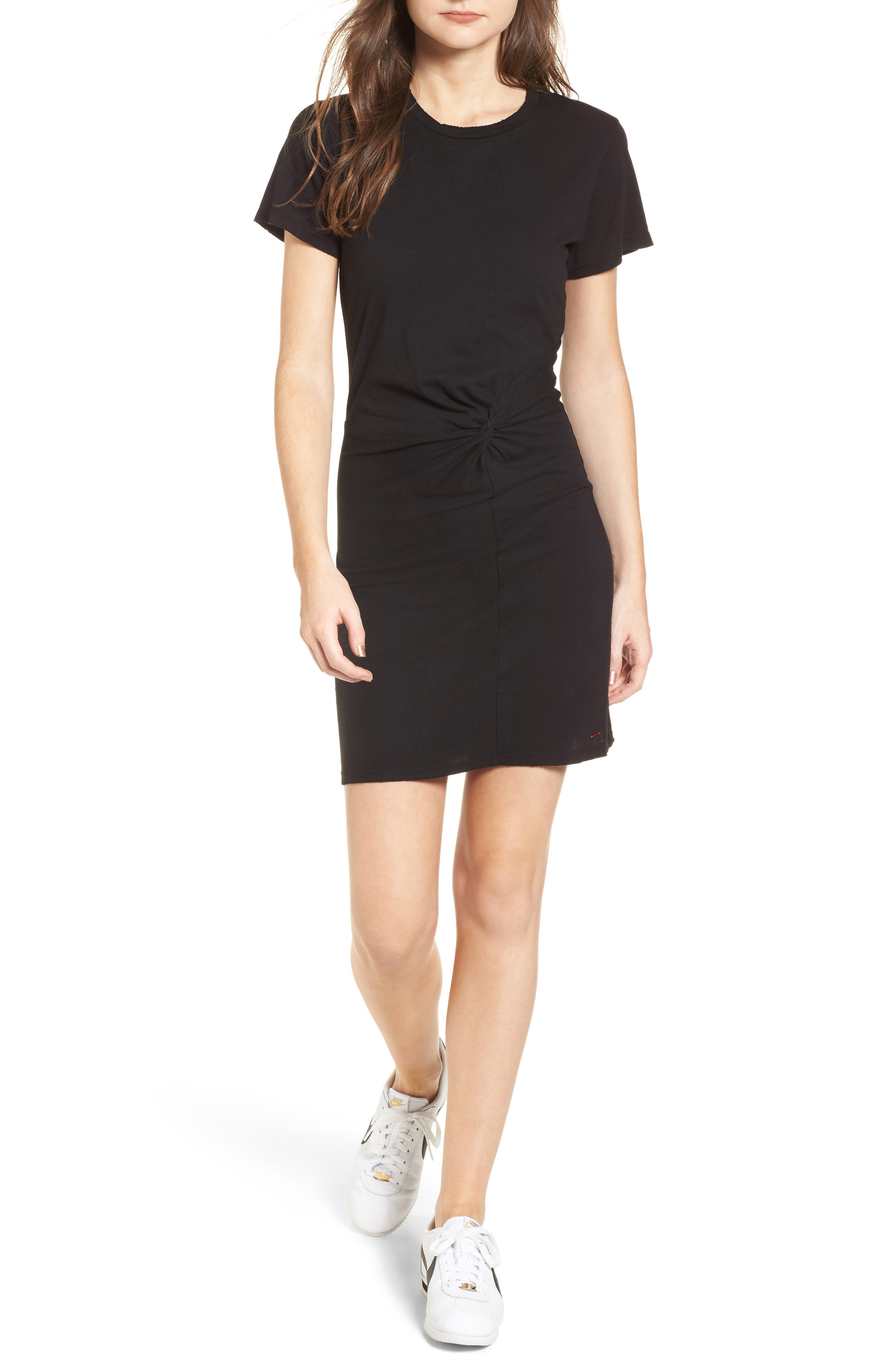 Jazz Knotted T-Shirt Dress,                         Main,                         color, BLACK CAT