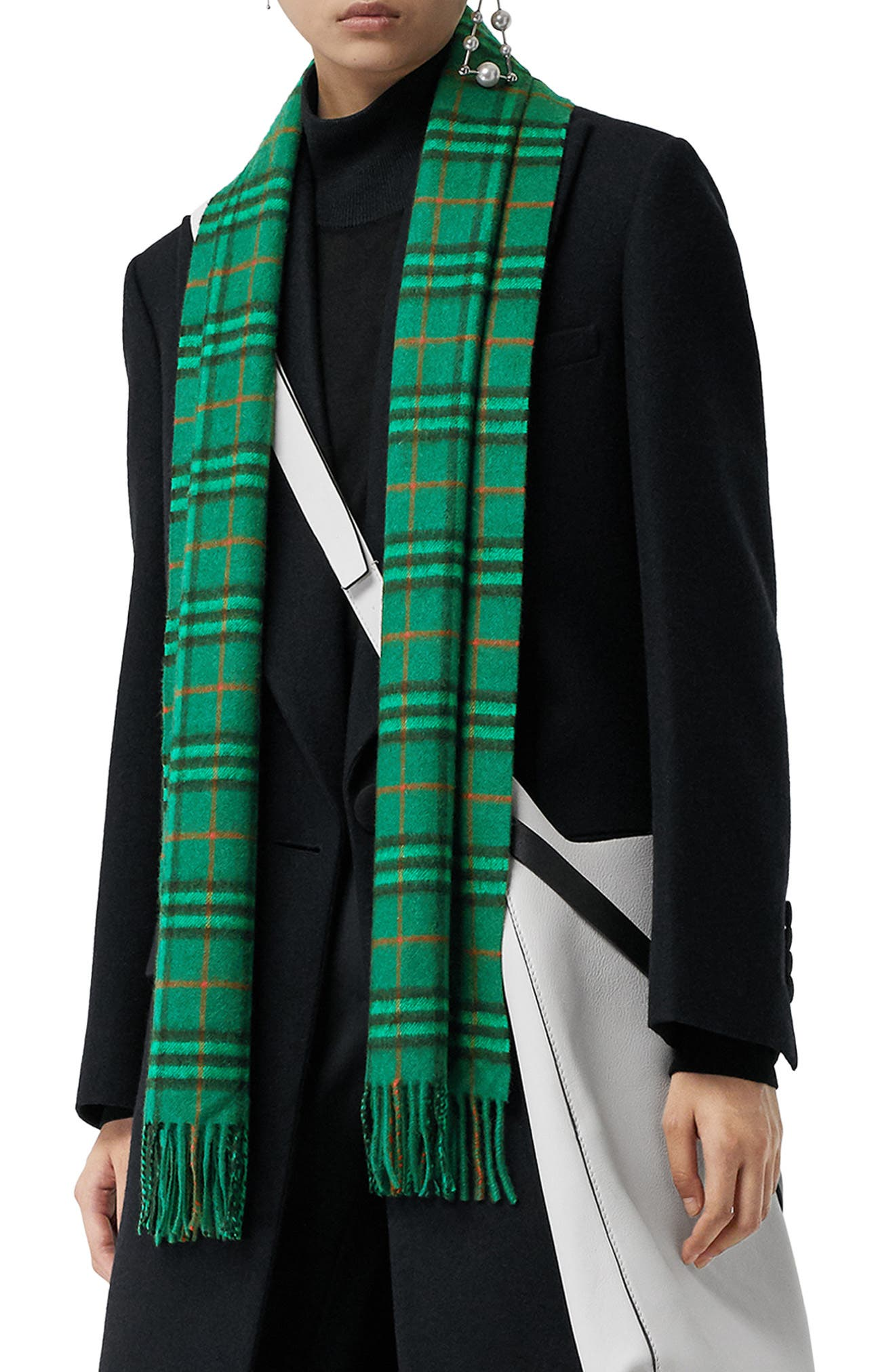 BURBERRY Vintage Check Cashmere Scarf, Main, color, VIRIDIAN GREEN