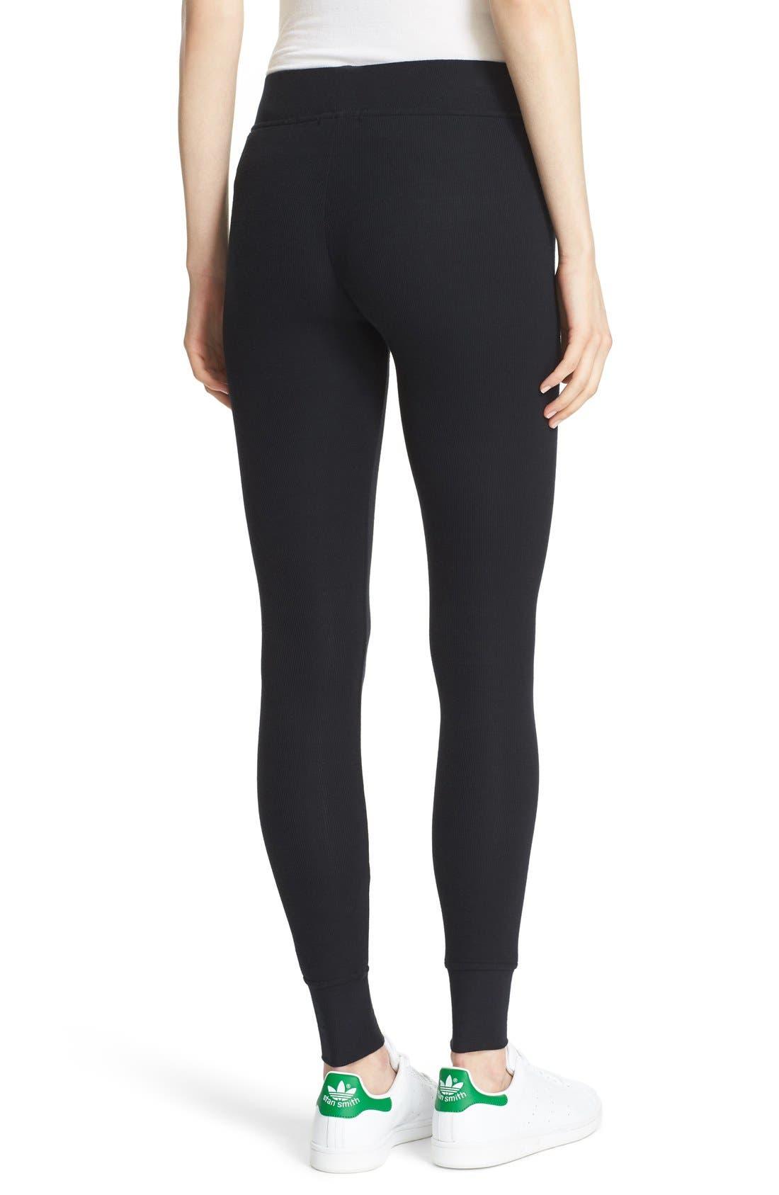 Rib Knit Yoga Leggings,                             Alternate thumbnail 2, color,                             BLACK