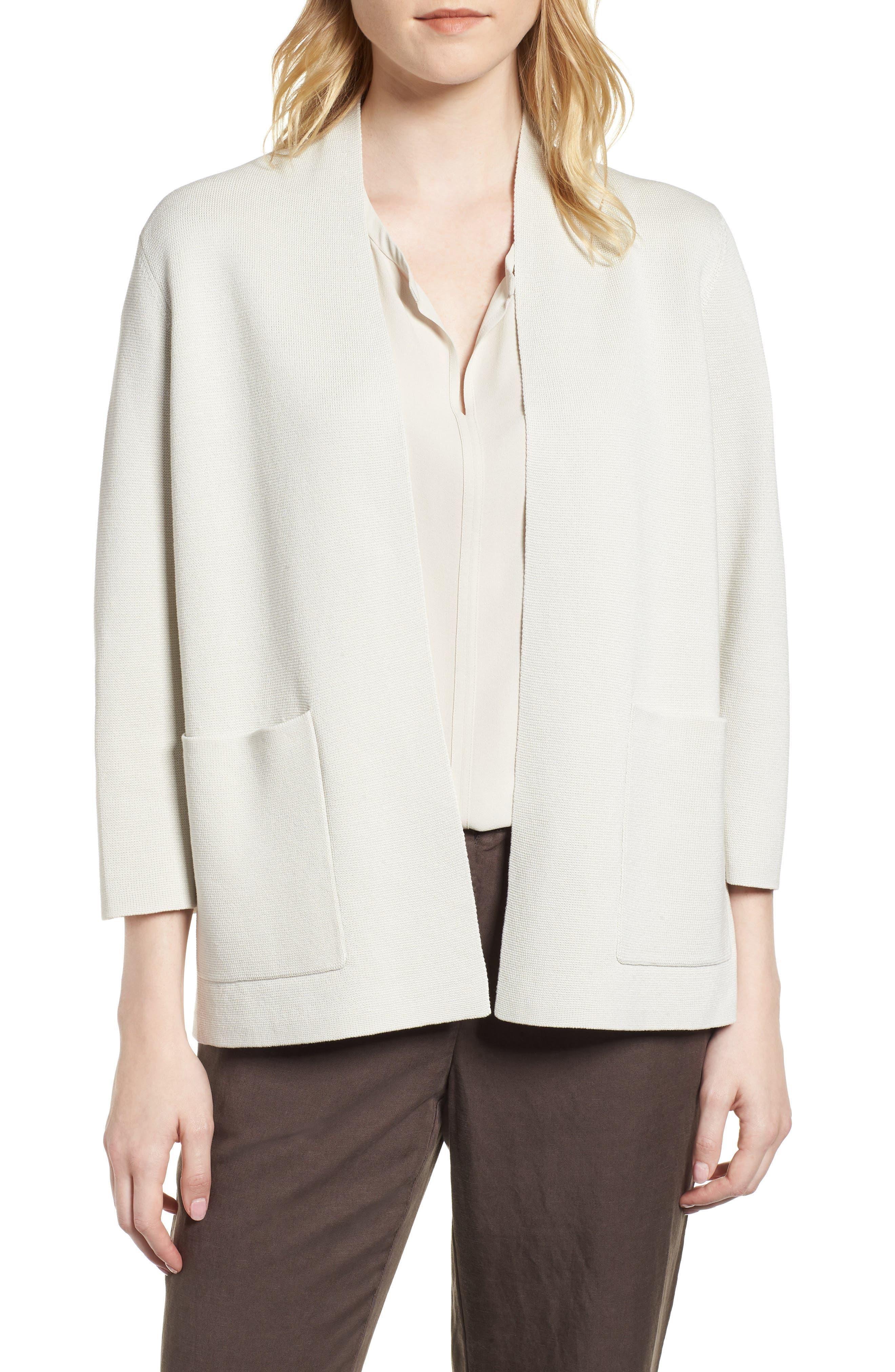 Stand Collar Silk & Organic Cotton Cardigan,                             Main thumbnail 2, color,