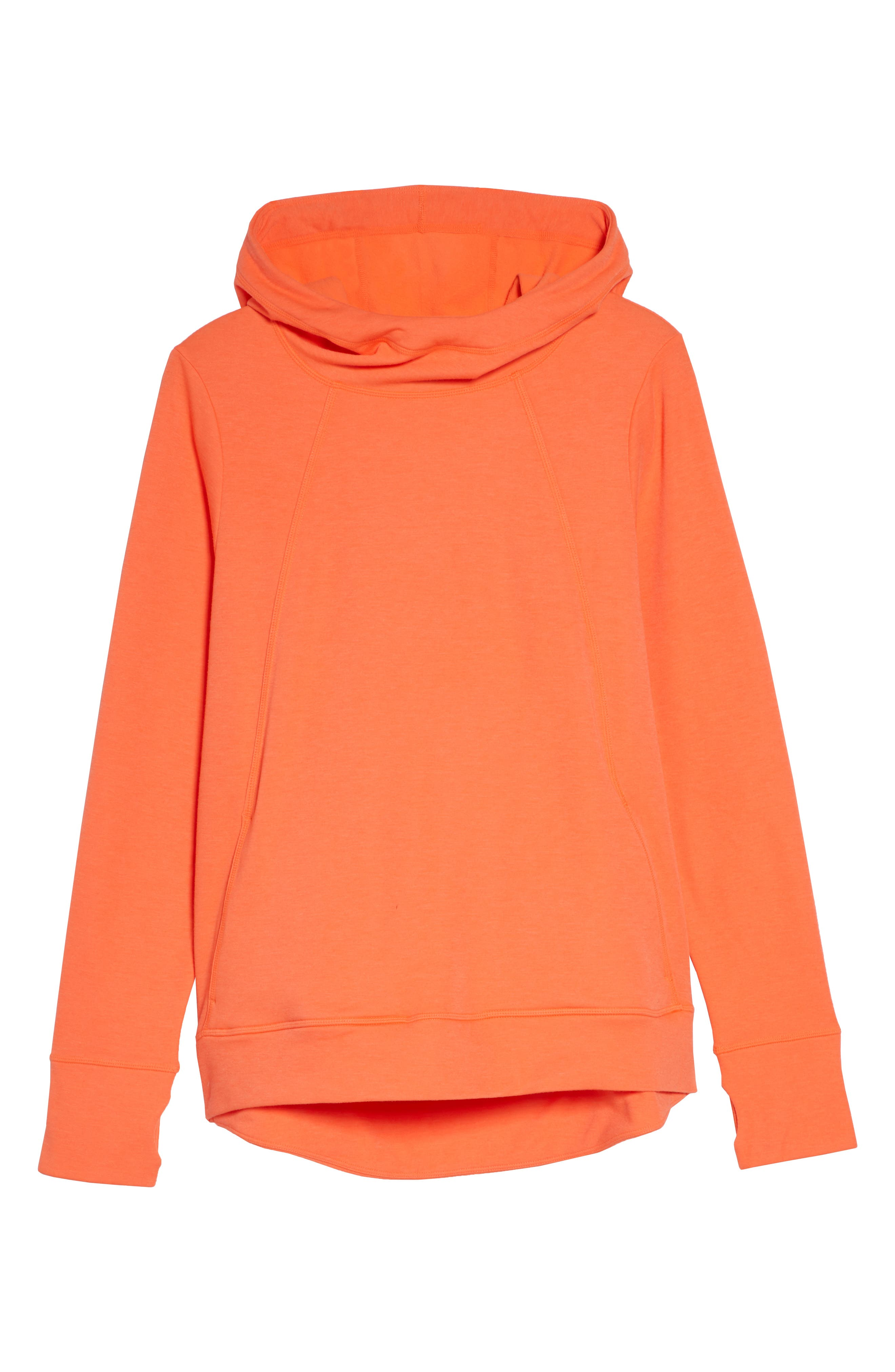 Pleated Tech Run Hoodie,                             Alternate thumbnail 7, color,                             CORAL
