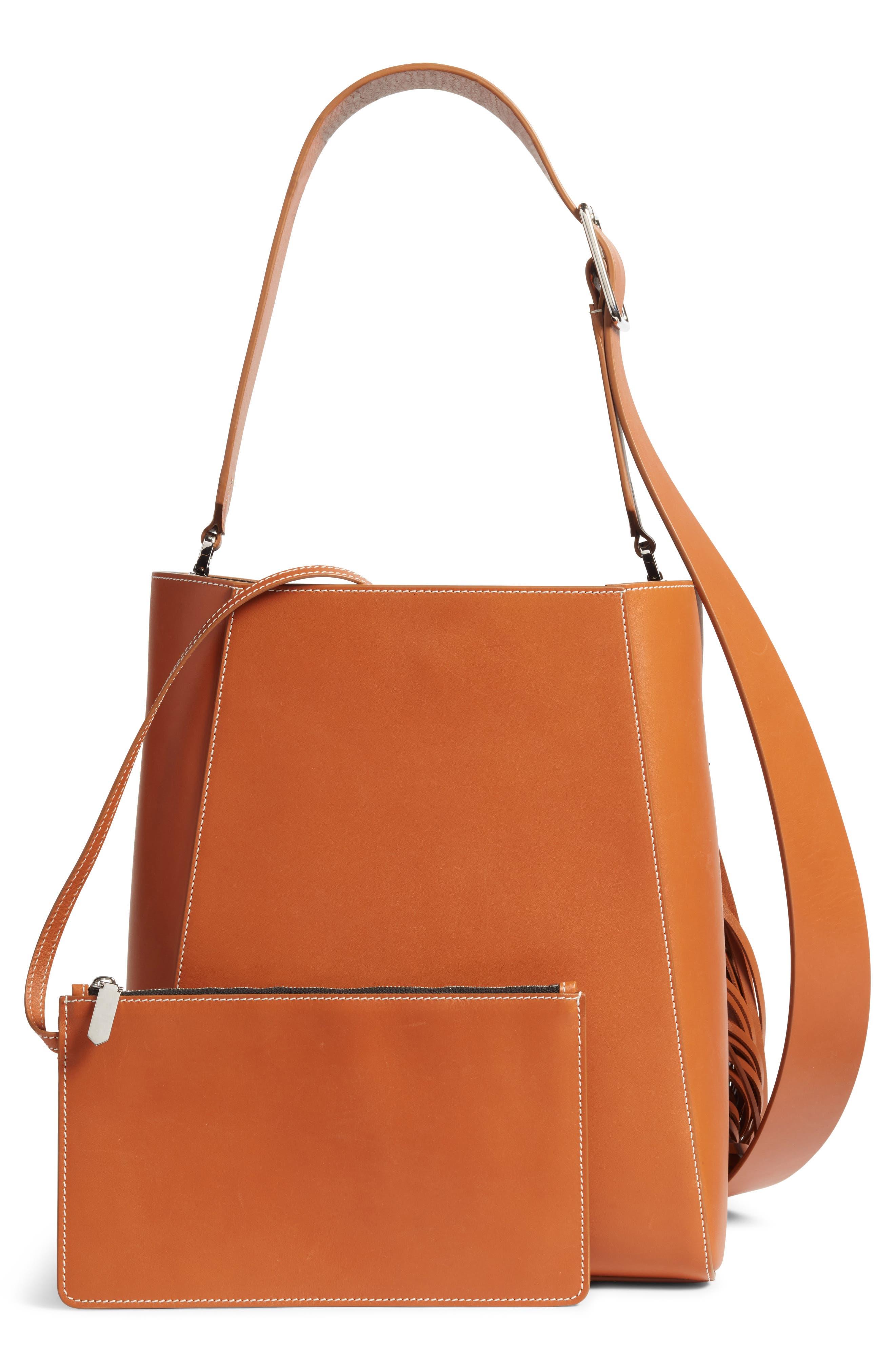 Fringe Leather Bucket Bag,                             Alternate thumbnail 2, color,                             COGNAC