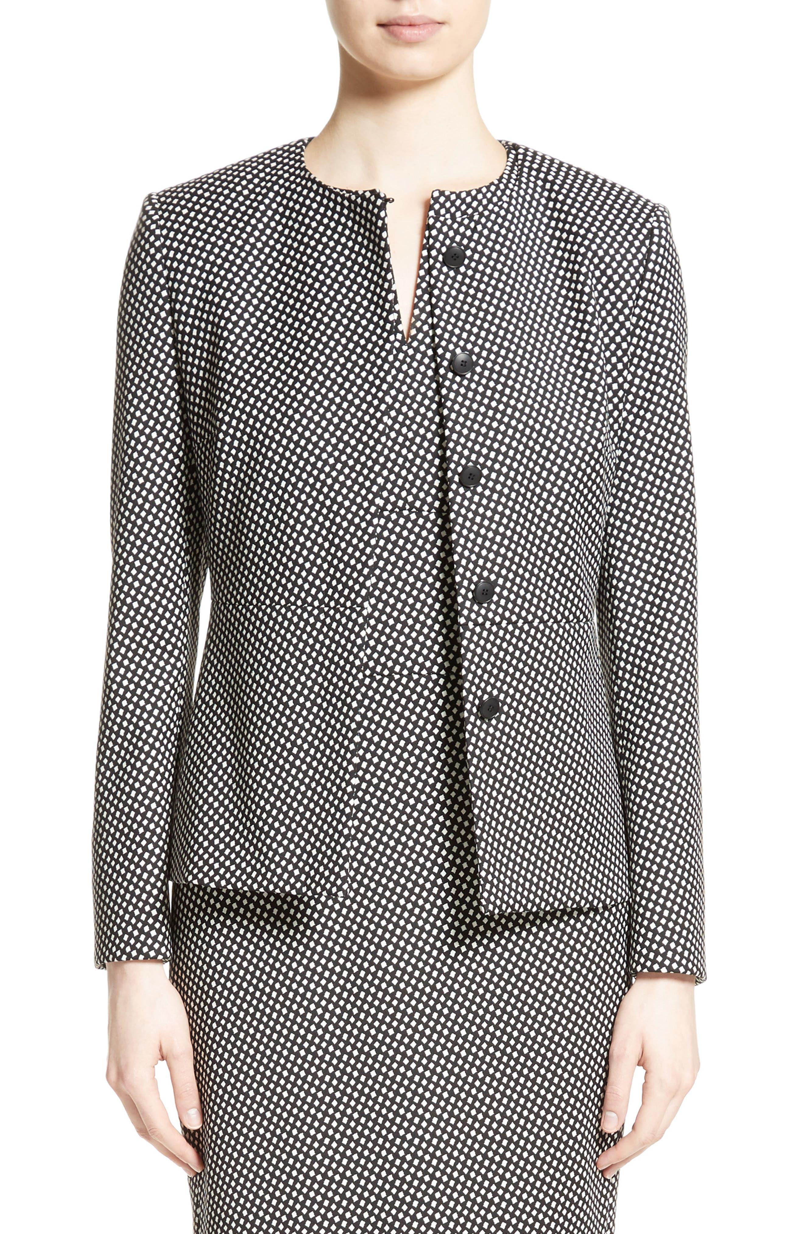 Ajaccio Wool Blend Jacquard Jacket,                             Main thumbnail 1, color,                             001