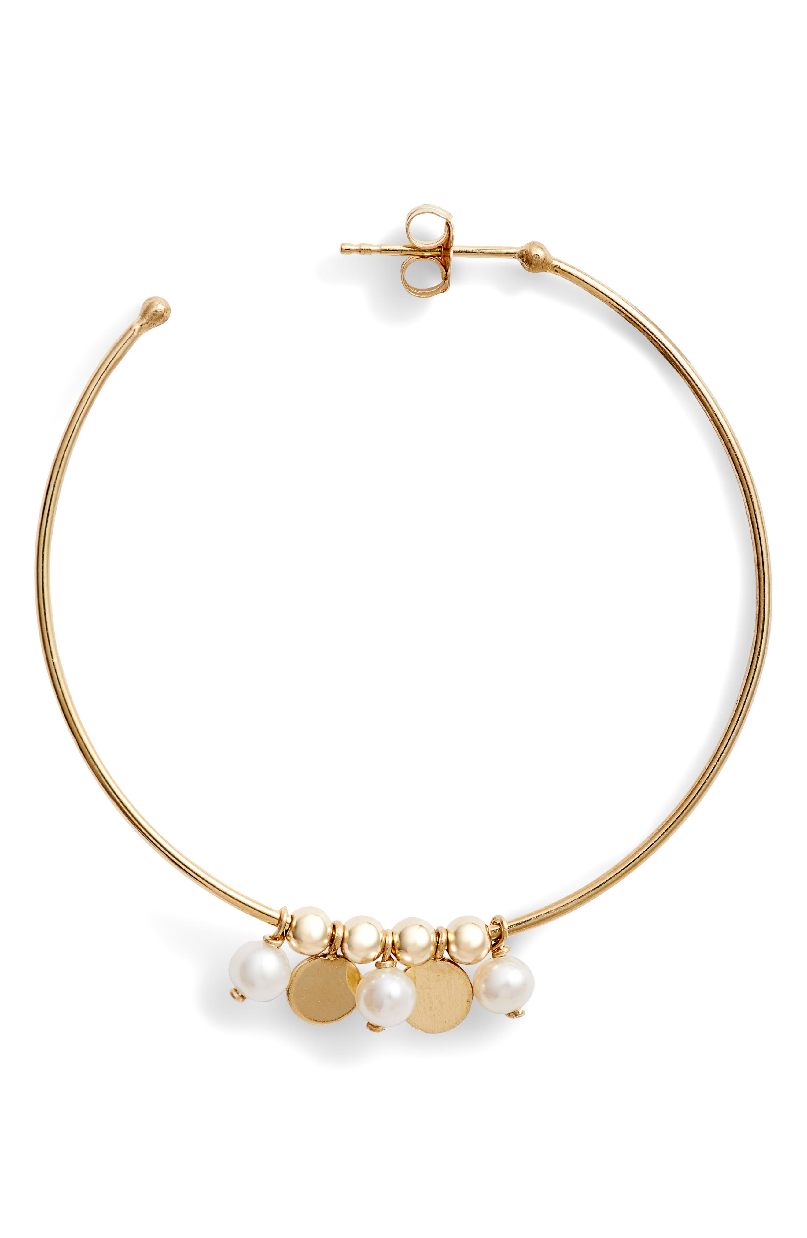 Confetti Pearl Gold Hoop Earrings,                             Alternate thumbnail 4, color,                             YELLOW GOLD/ WHITE PEARL