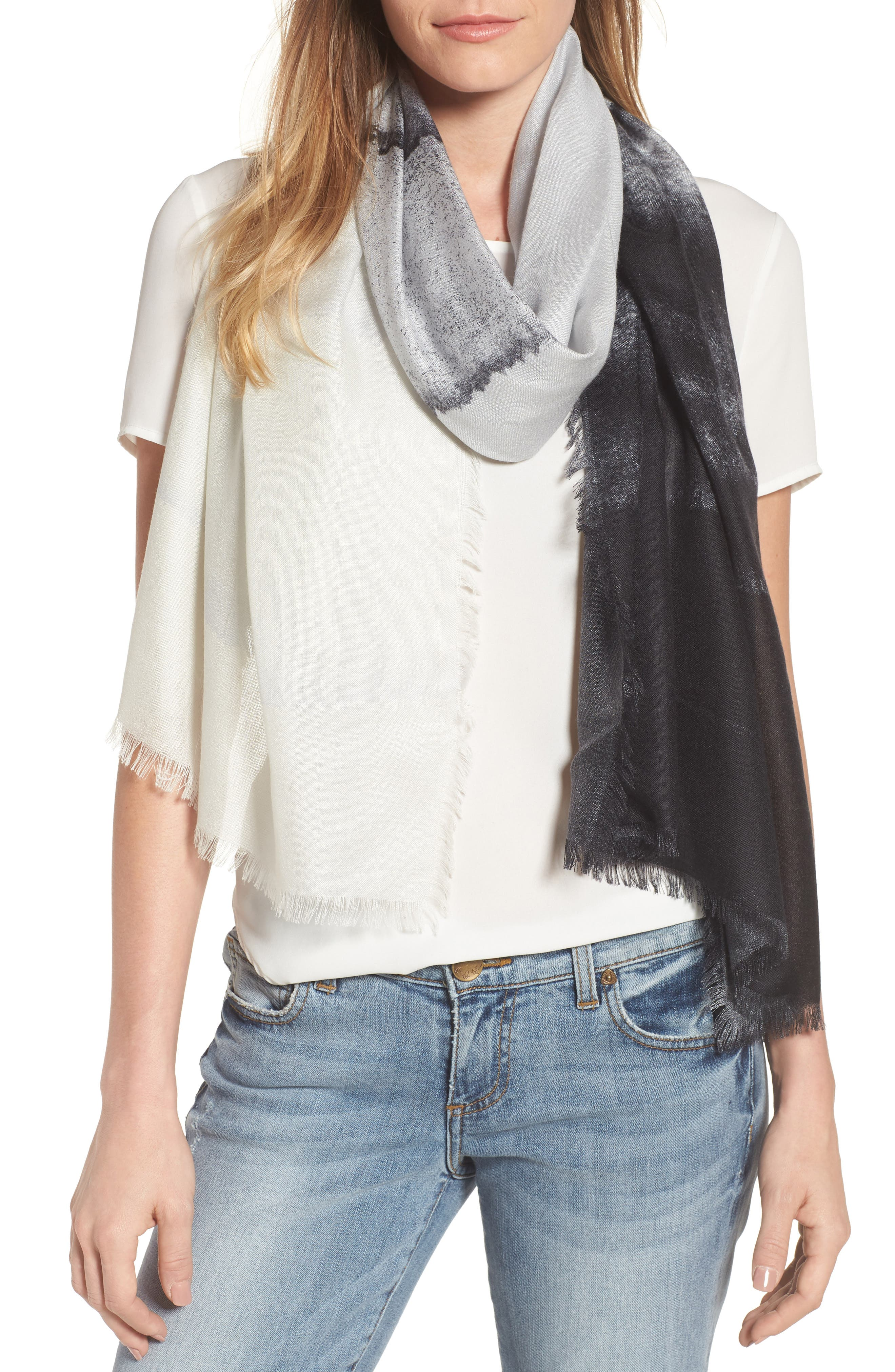 Eyelash Trim Print Cashmere & Silk Wrap,                             Main thumbnail 5, color,
