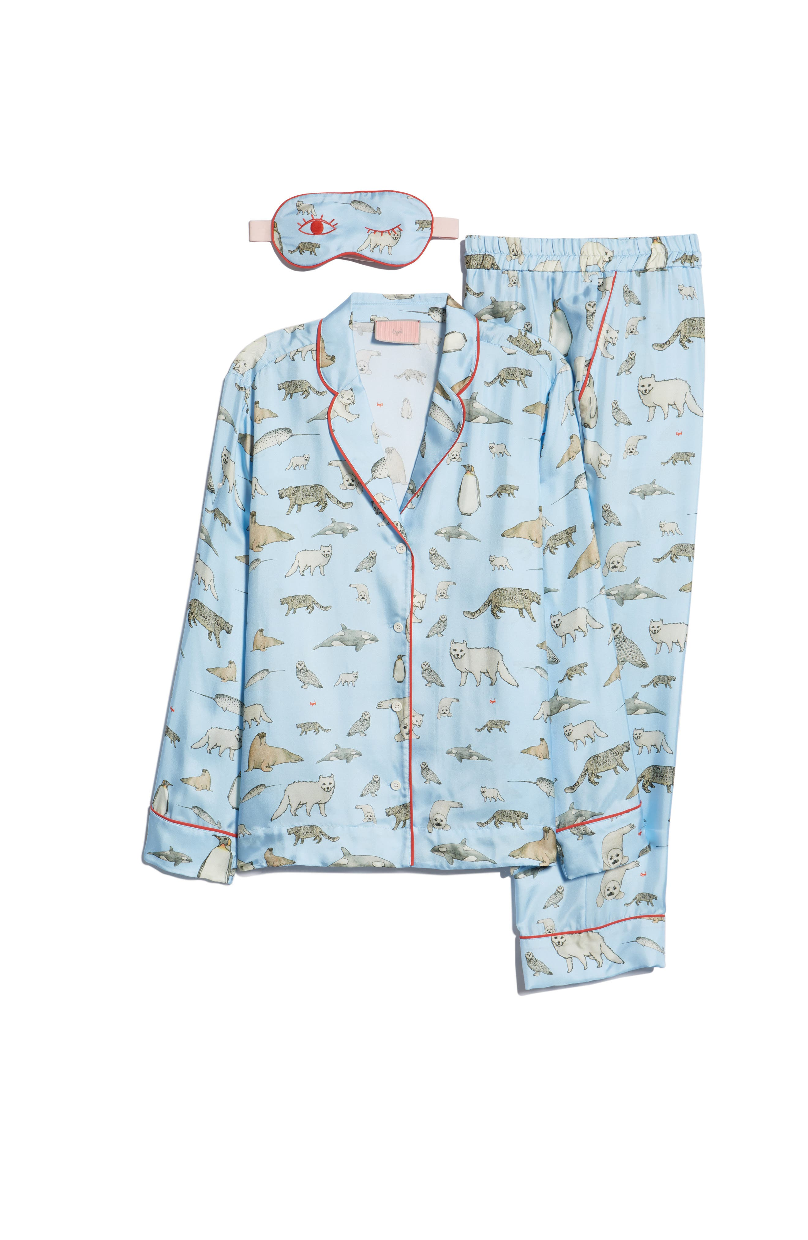 Winter Animals Pajamas & Eye Mask,                             Alternate thumbnail 7, color,                             LIGHT BLUE