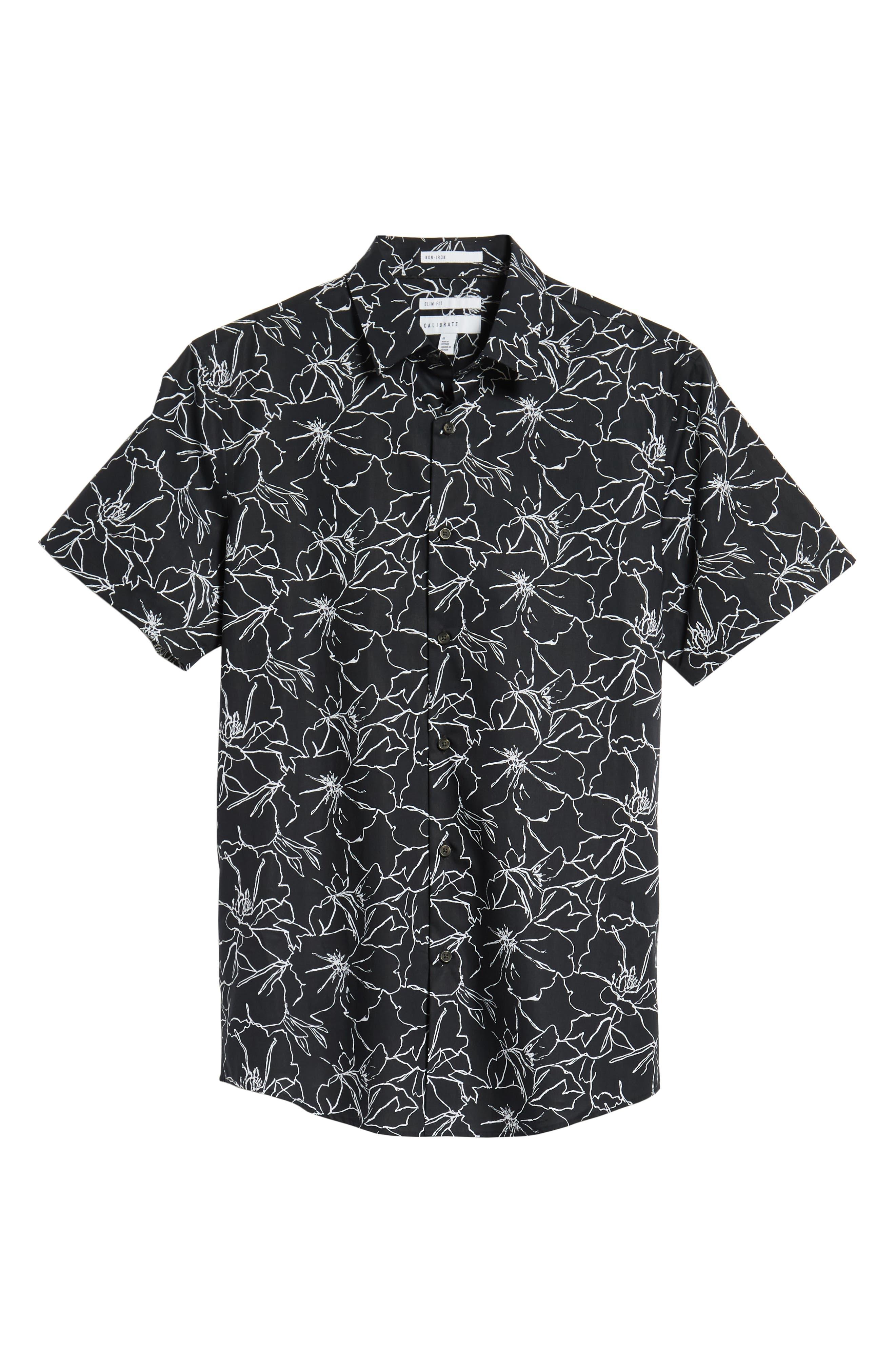 Trim Fit Hibiscus Print Sport Shirt,                             Alternate thumbnail 6, color,                             001