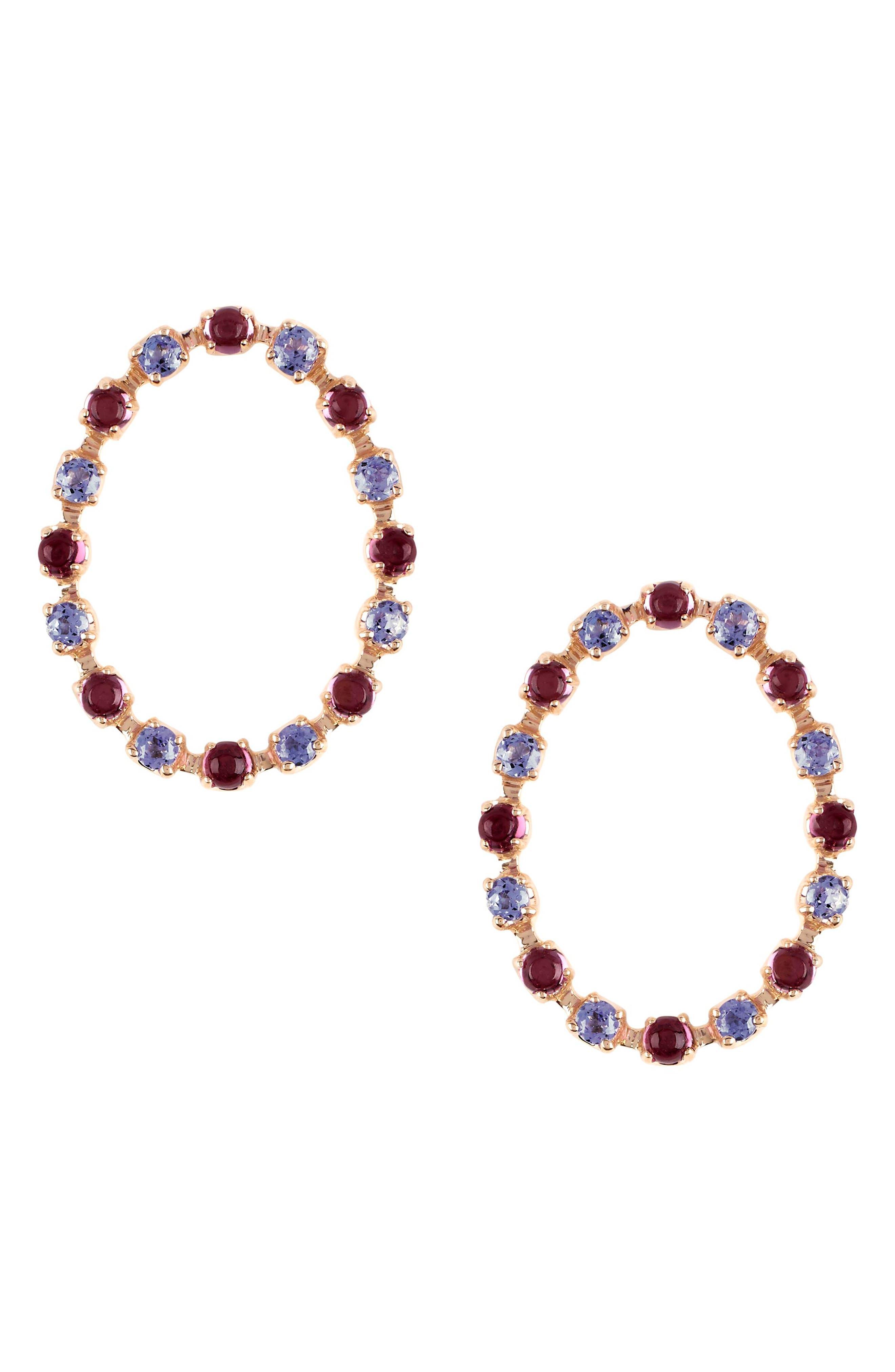 MARLO LAZ,                             Full Circle Stone Stud Earrings,                             Main thumbnail 1, color,                             YELLOW GOLD