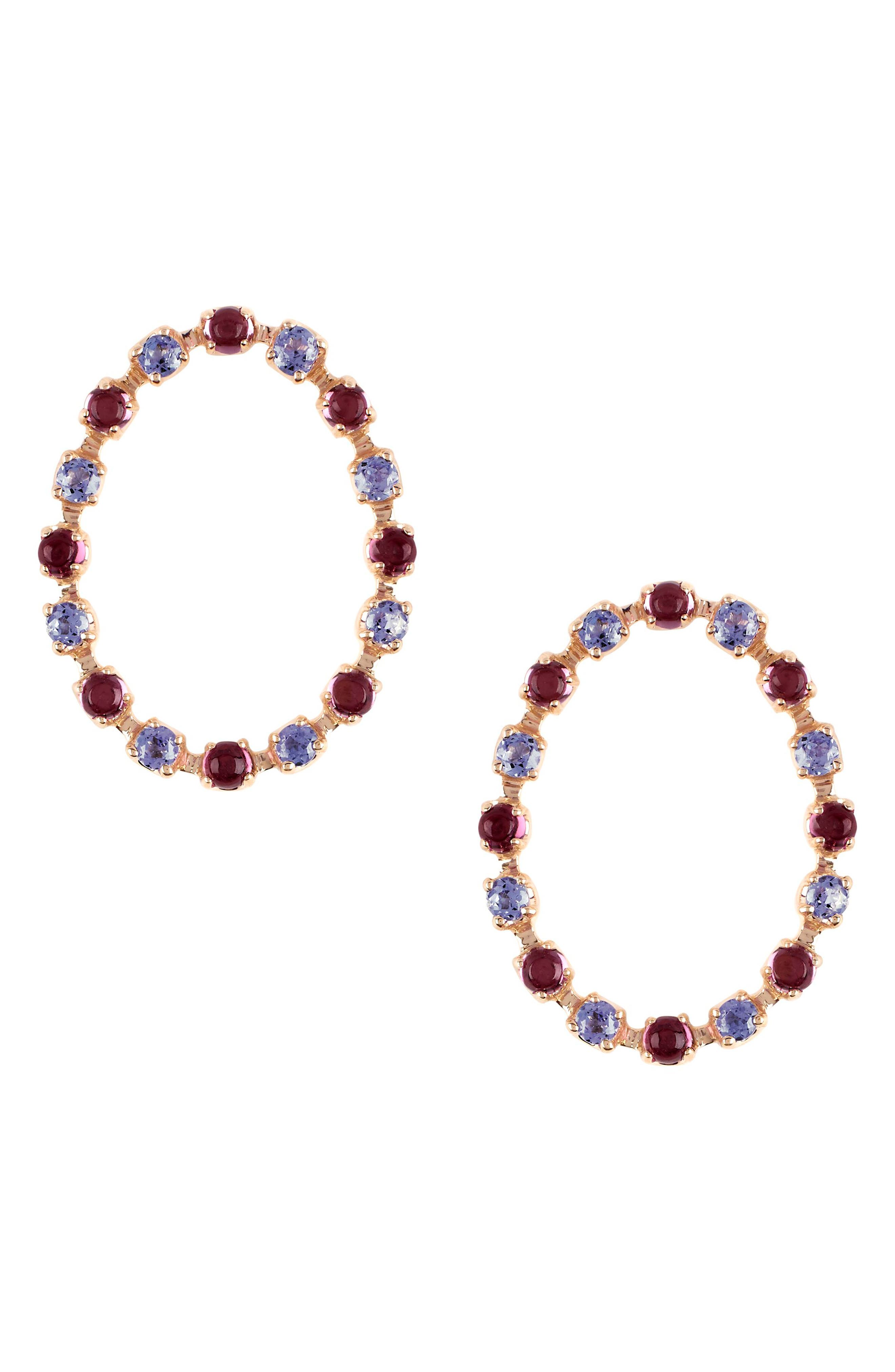 MARLO LAZ Full Circle Stone Stud Earrings, Main, color, YELLOW GOLD