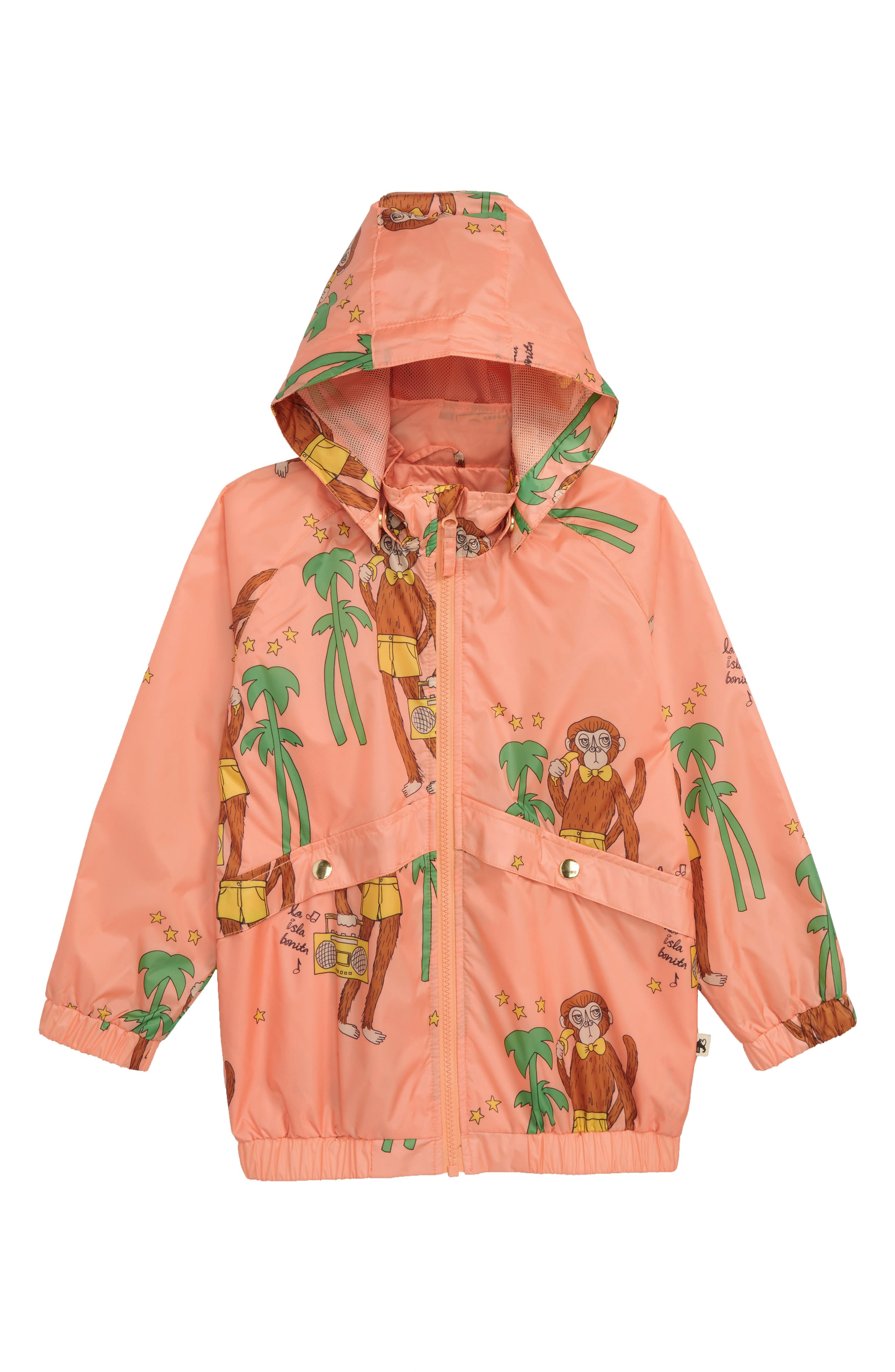 Cool Monkey Water Repellent Hooded Windbreaker,                             Main thumbnail 1, color,                             PINK