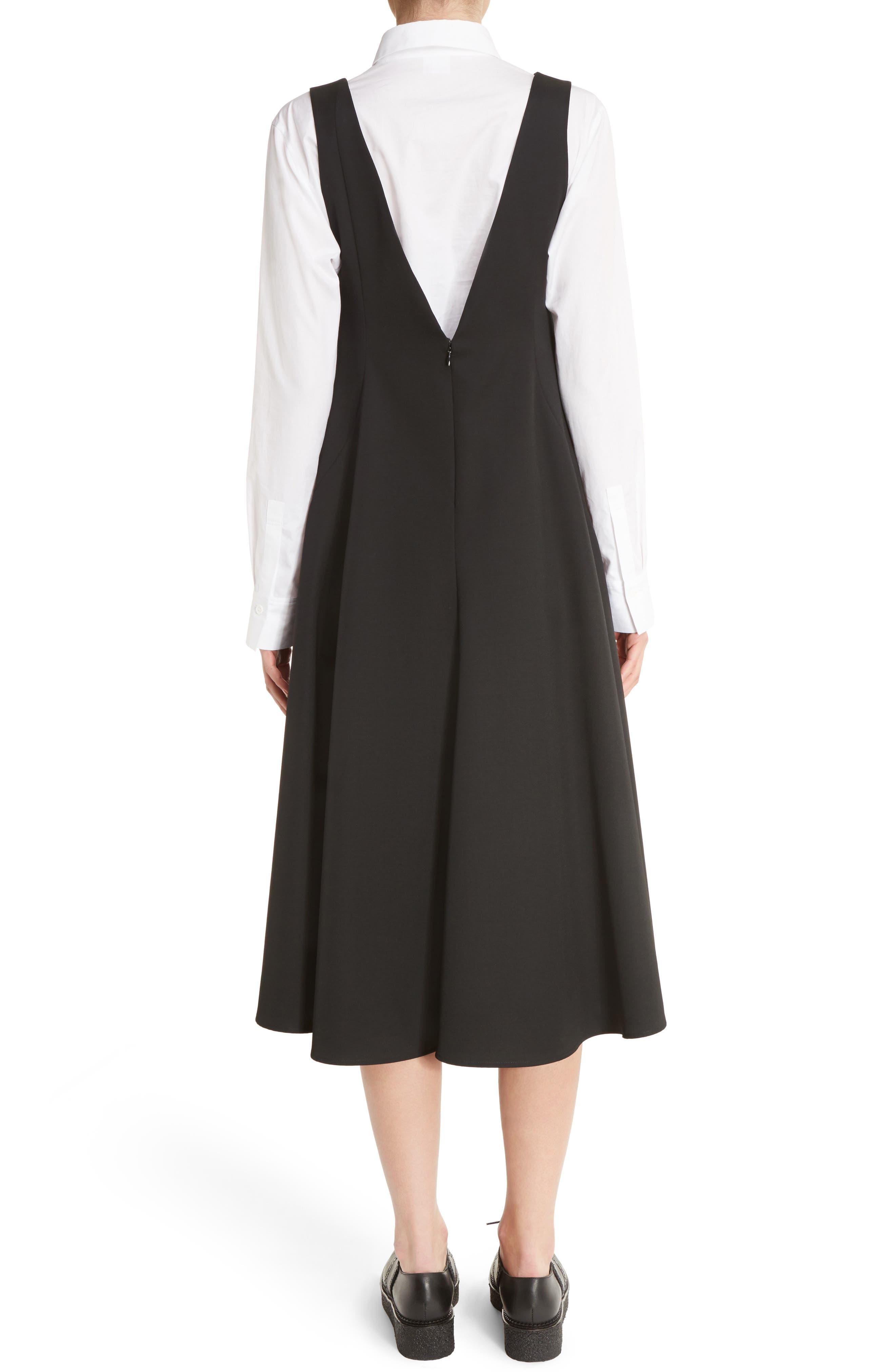 V-Back Sleeveless Wool Dress,                             Alternate thumbnail 2, color,                             001