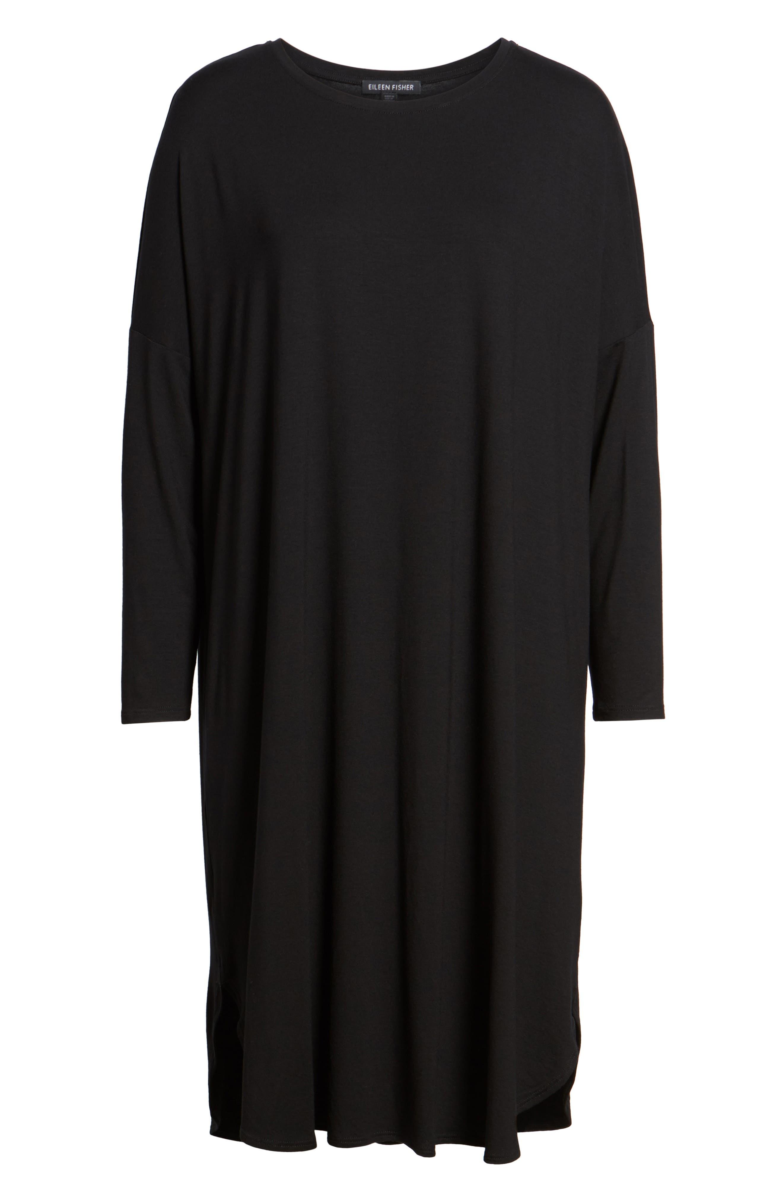 Shirttail Jersey Shift Dress,                             Alternate thumbnail 6, color,                             001