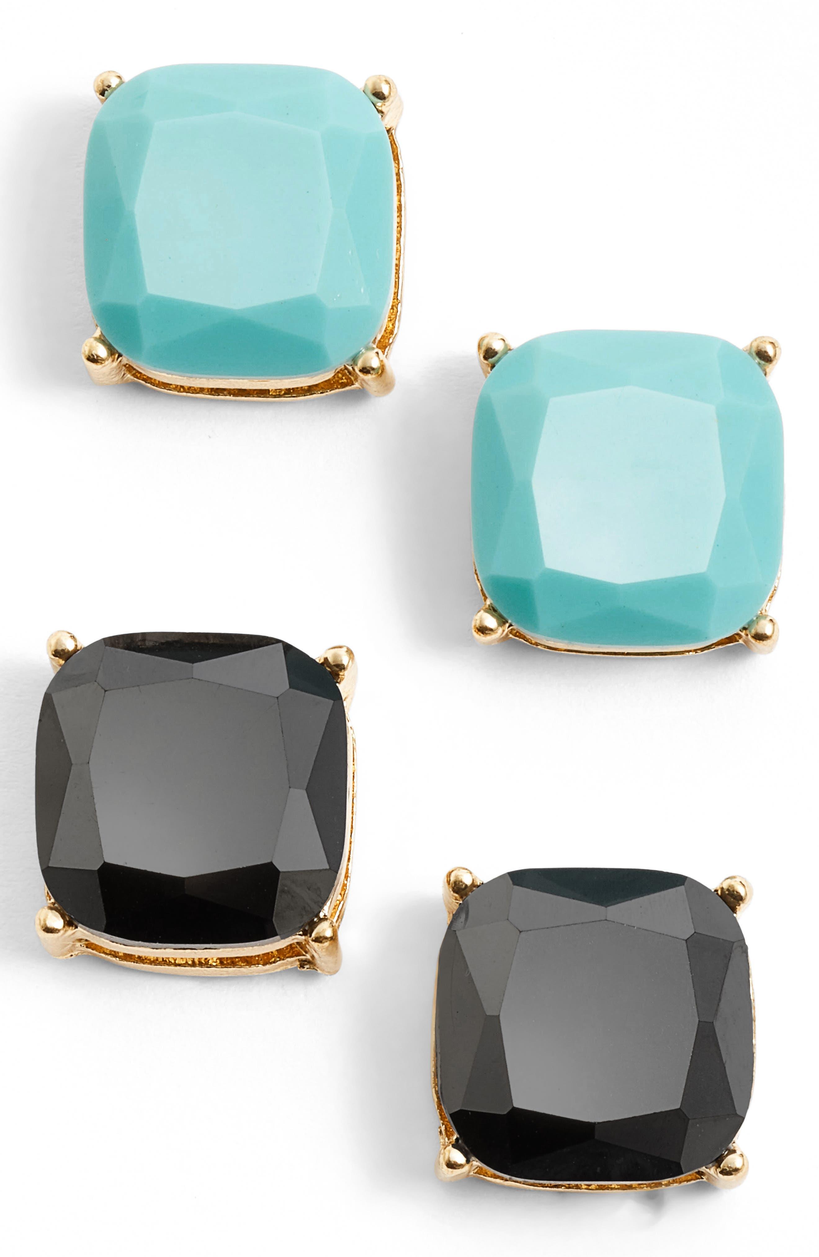 Square Stud Earrings,                             Main thumbnail 1, color,                             001