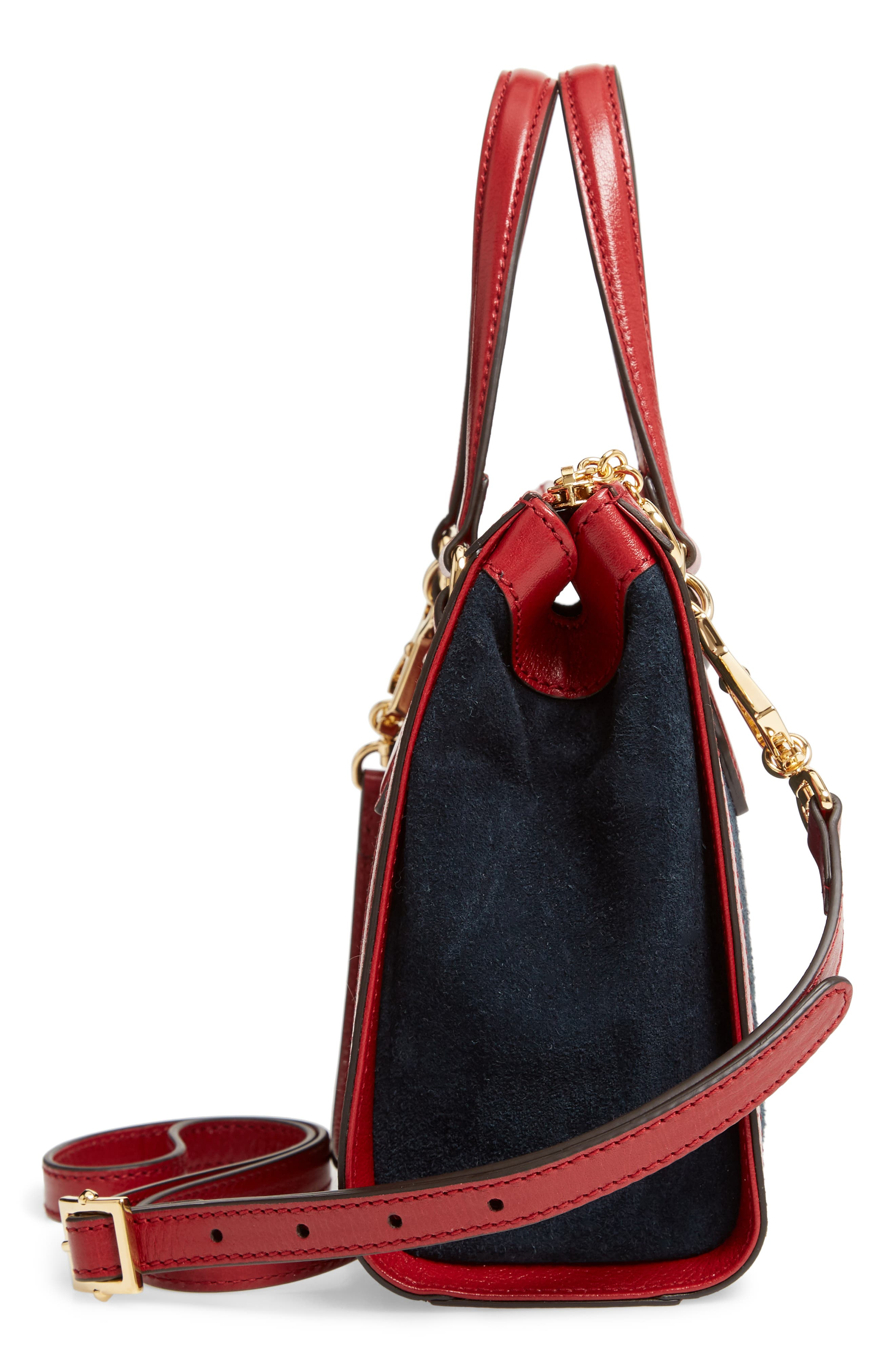 Ophidia Small Suede & Leather Convertible Tote Bag,                             Alternate thumbnail 5, color,                             NEW BLU/ ROMANTIC CERISE