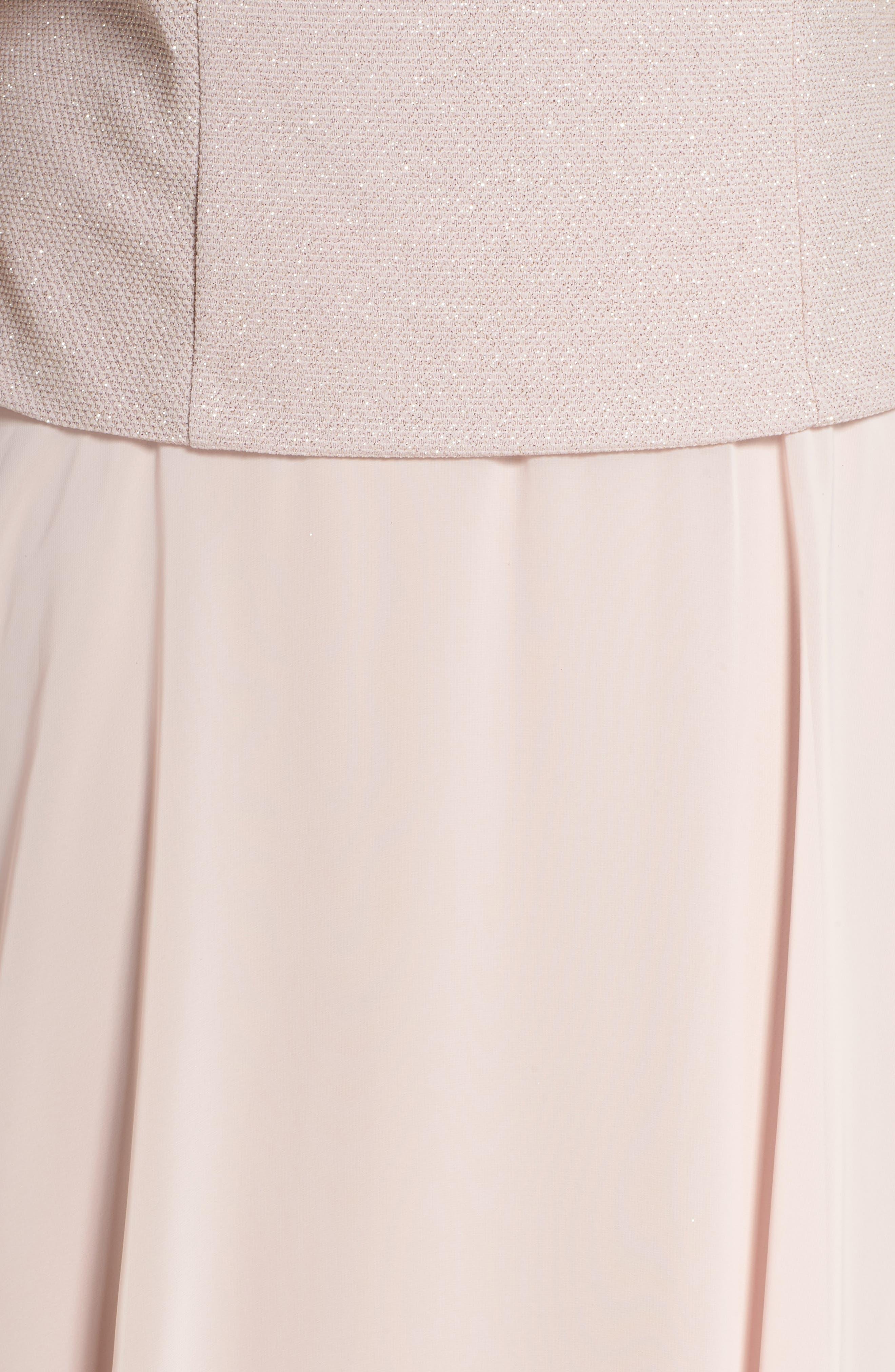 Glitter Tea Length A-Line Dress with Jacket,                             Alternate thumbnail 5, color,                             680