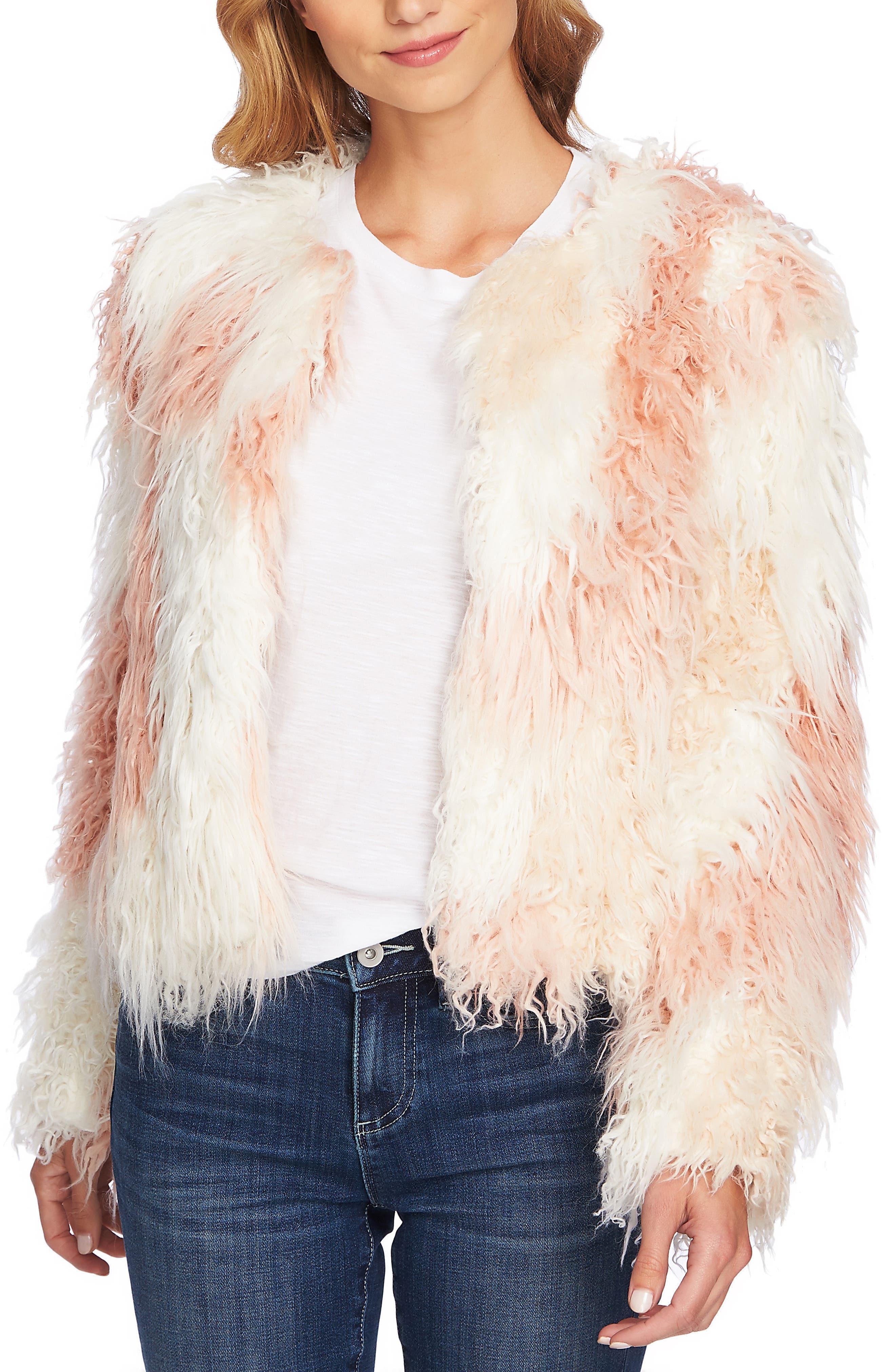 Shaggy Patchwork Faux Fur Jacket,                             Alternate thumbnail 3, color,                             ANTIQUE WHITE