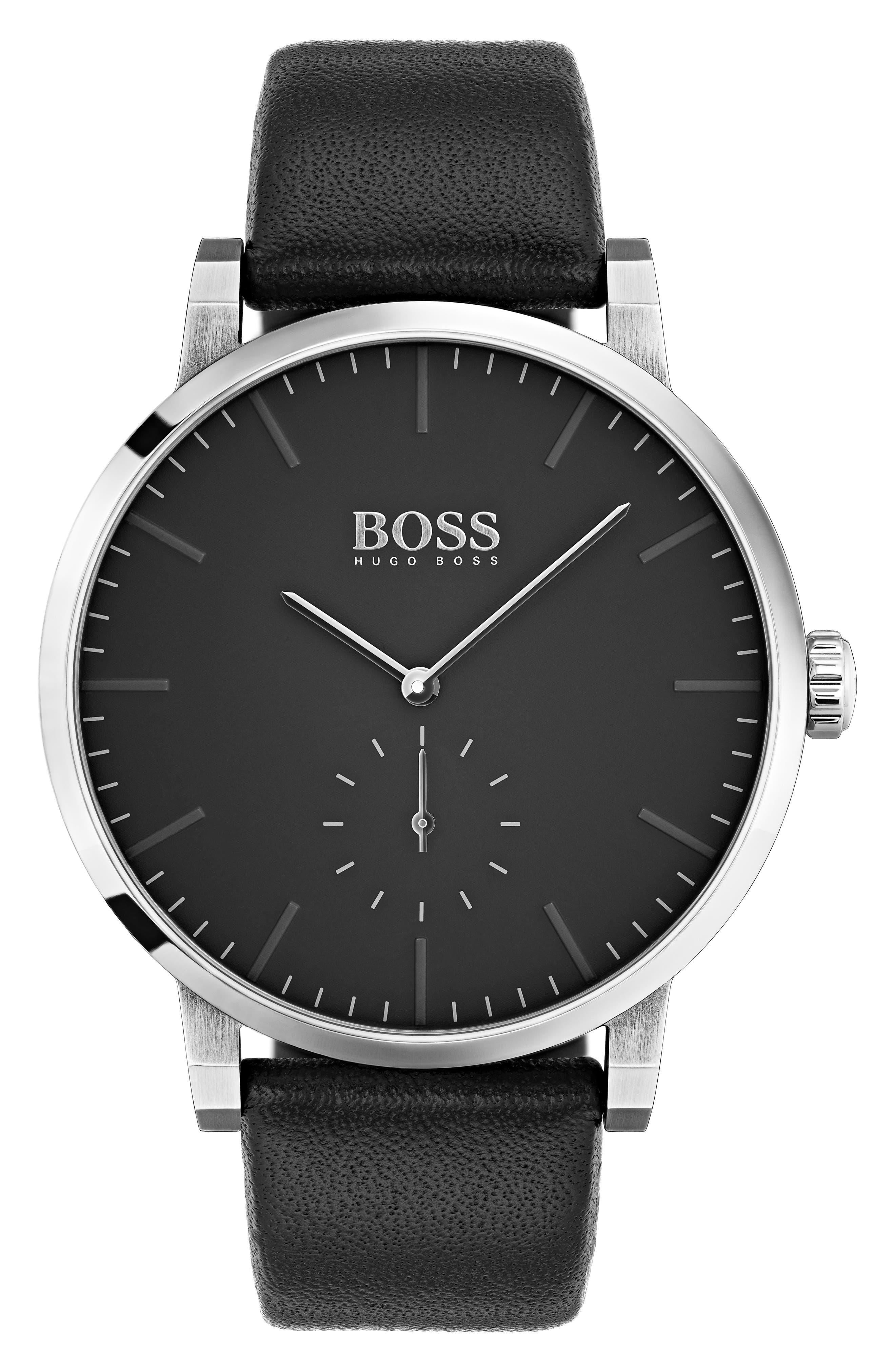 Essence Leather Strap Watch, 42mm,                         Main,                         color, BLACK/ BLACK