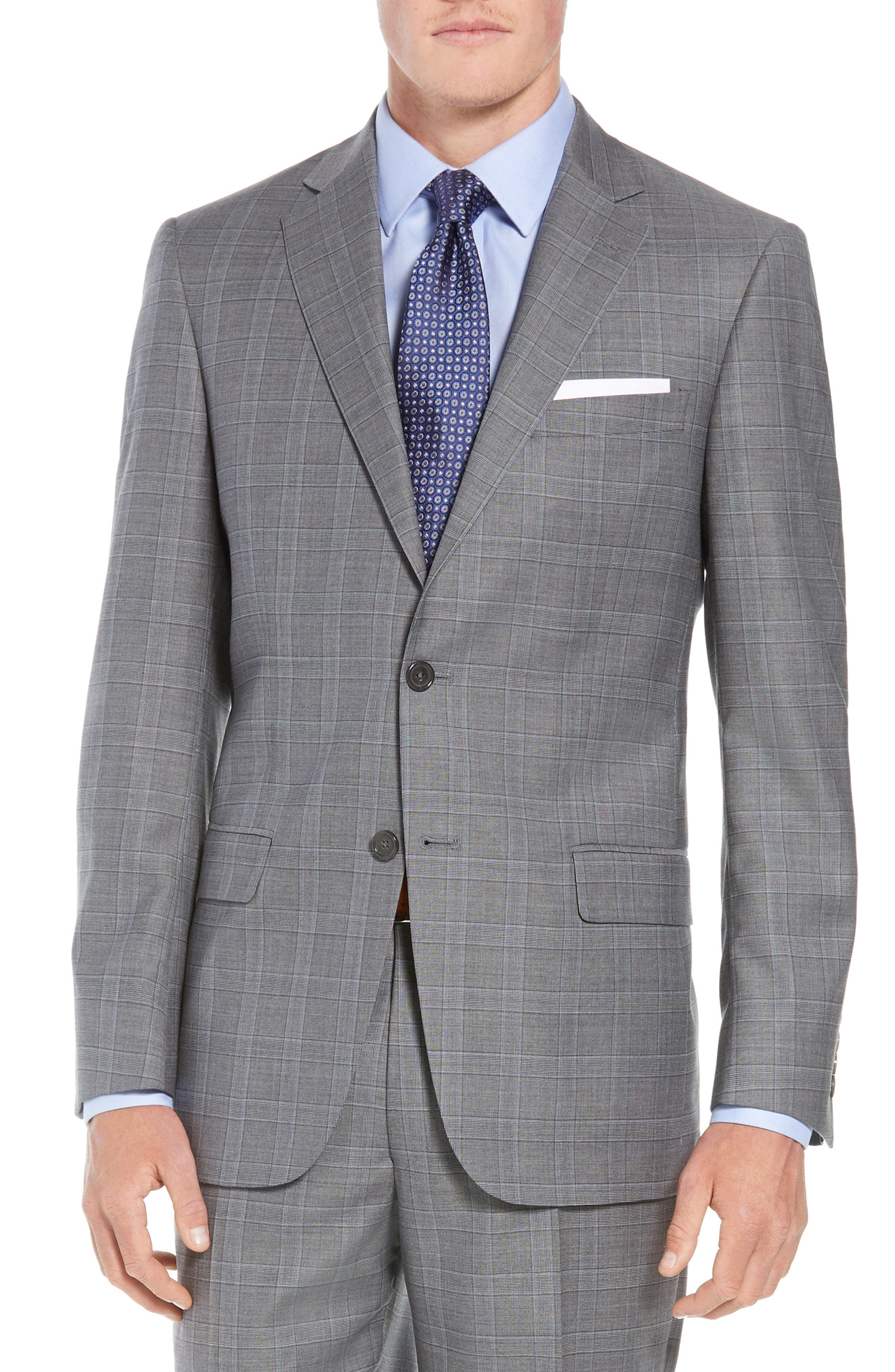 New York Classic Fit Plaid Wool Suit,                             Alternate thumbnail 5, color,                             MID GREY