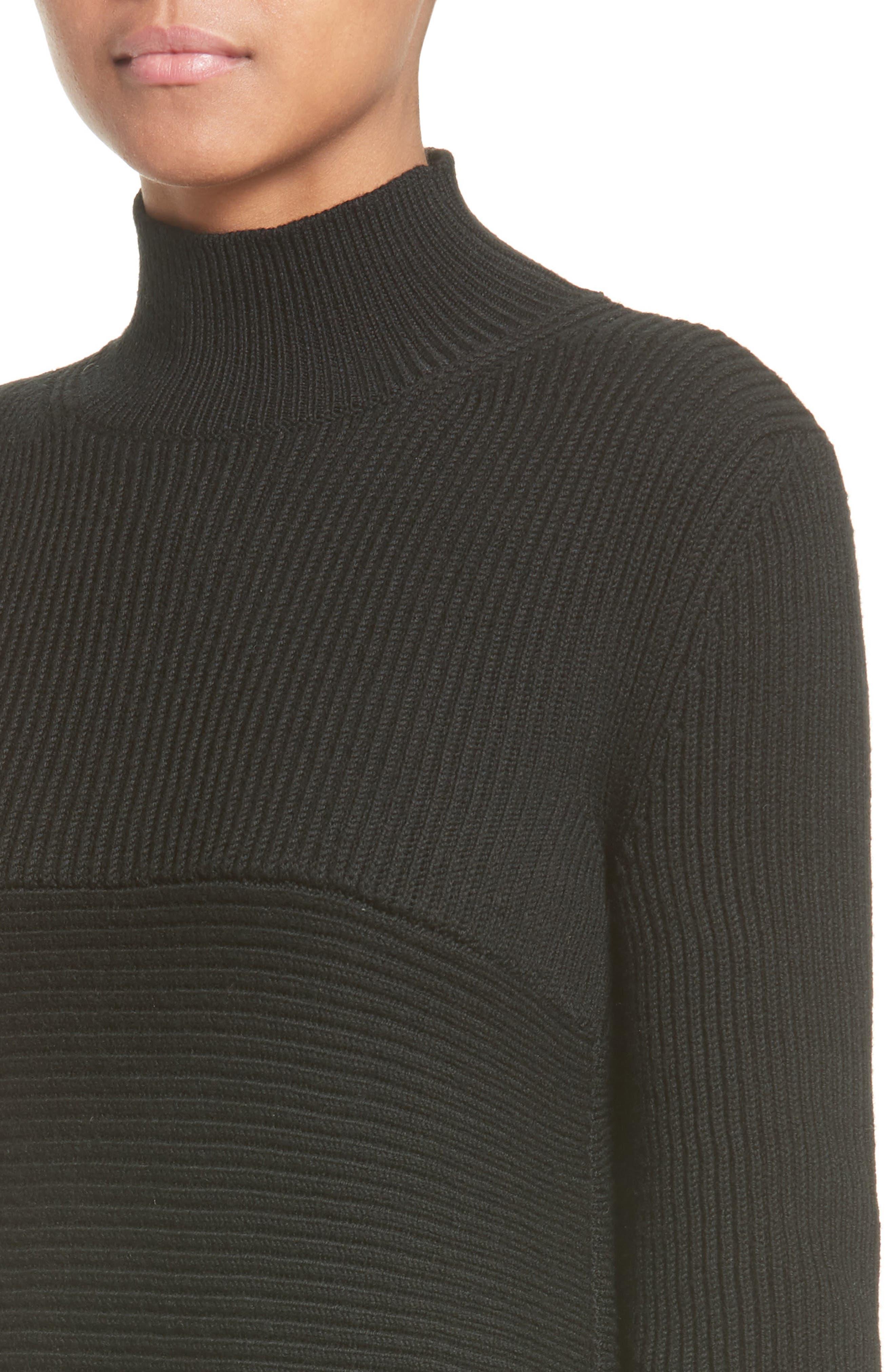 Virgin Wool Rib Knit Dress,                             Alternate thumbnail 4, color,                             001