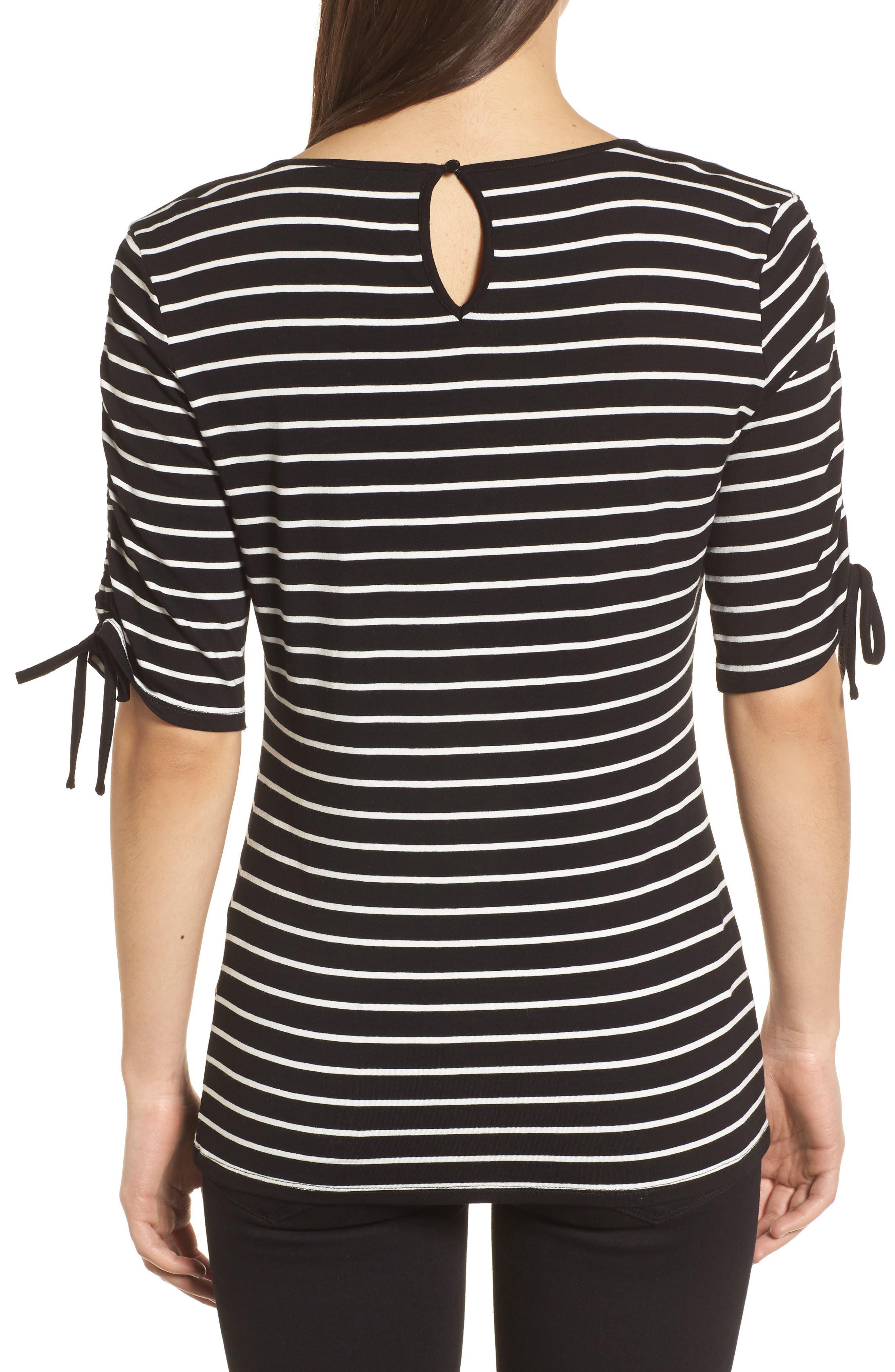 Drawstring Sleeve Stripe Top,                             Alternate thumbnail 2, color,                             006