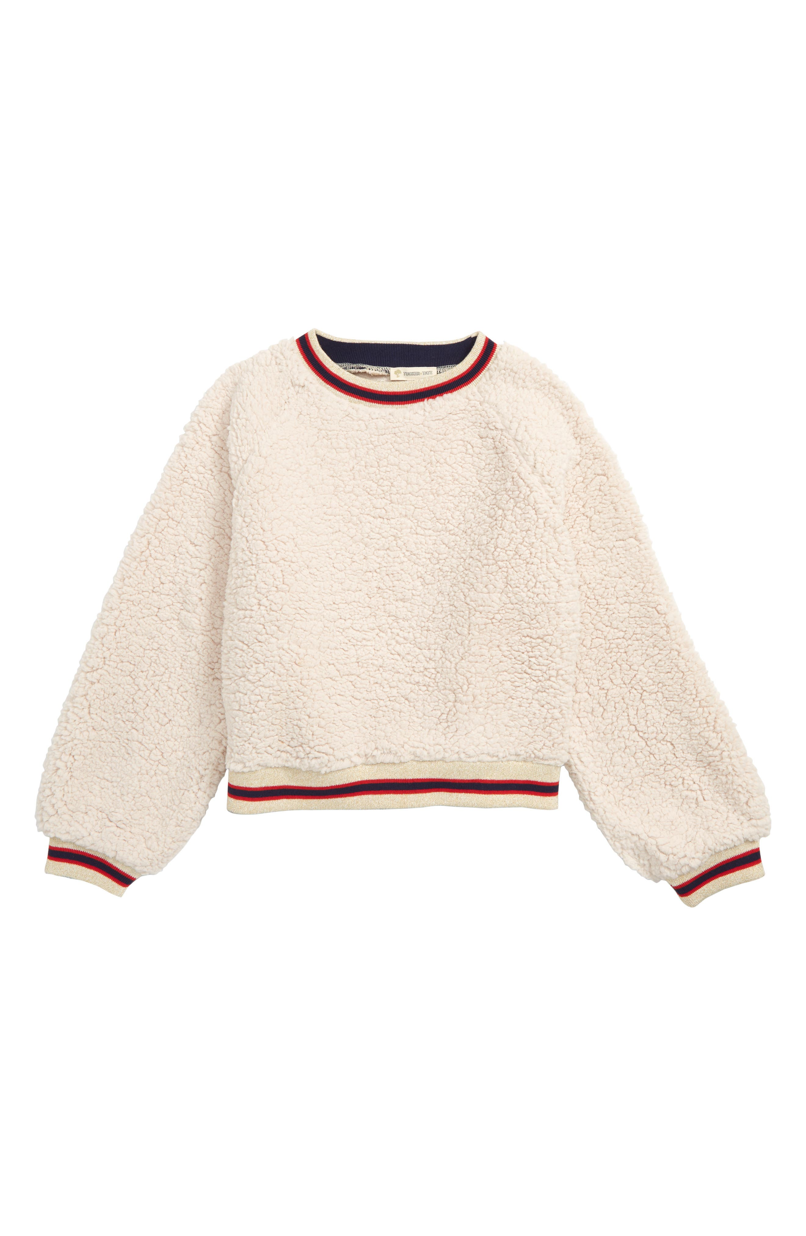 Varsity Faux Fur Sweatshirt,                             Main thumbnail 1, color,                             IVORY EGRET