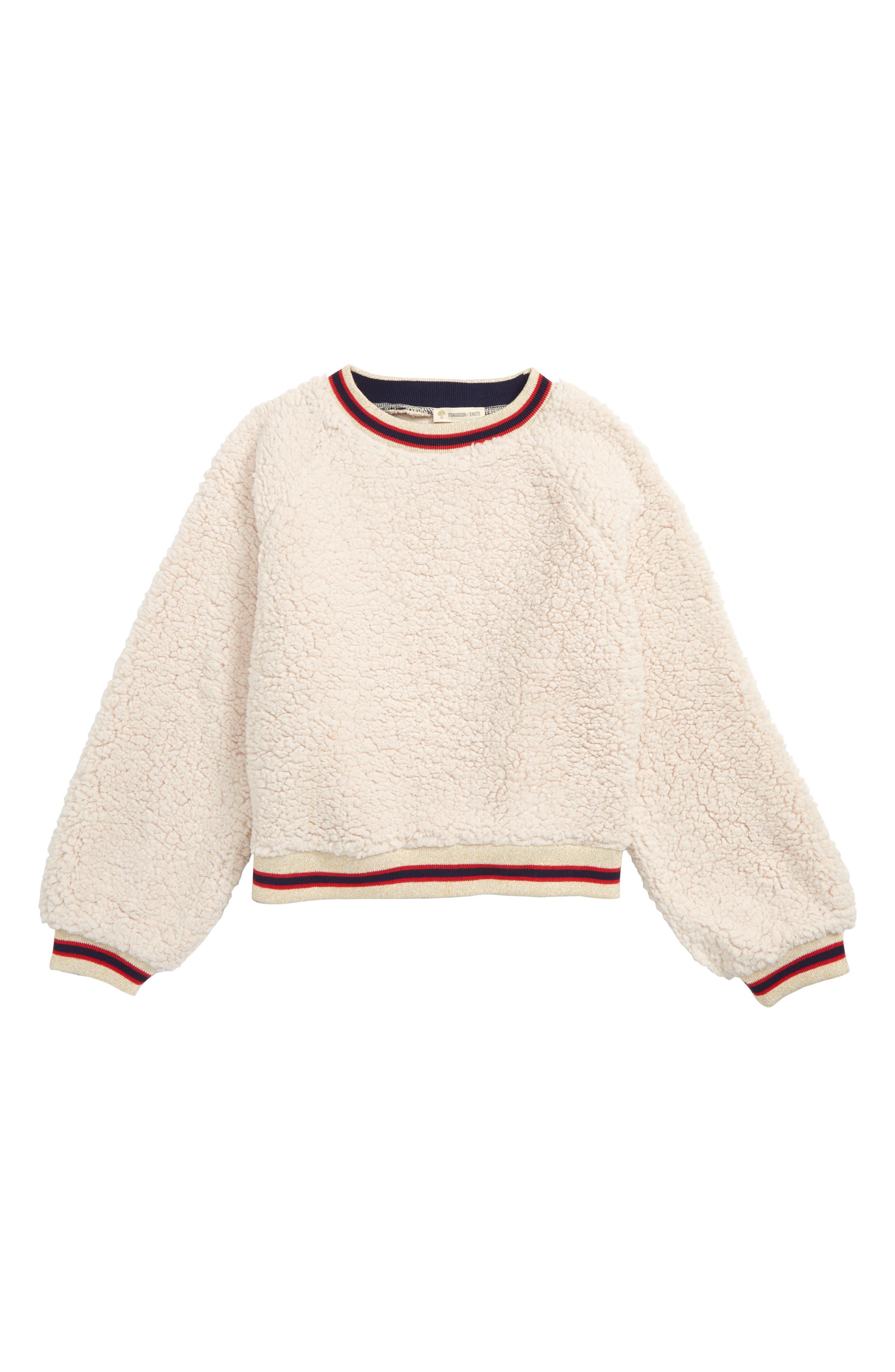 Varsity Faux Fur Sweatshirt,                         Main,                         color, IVORY EGRET