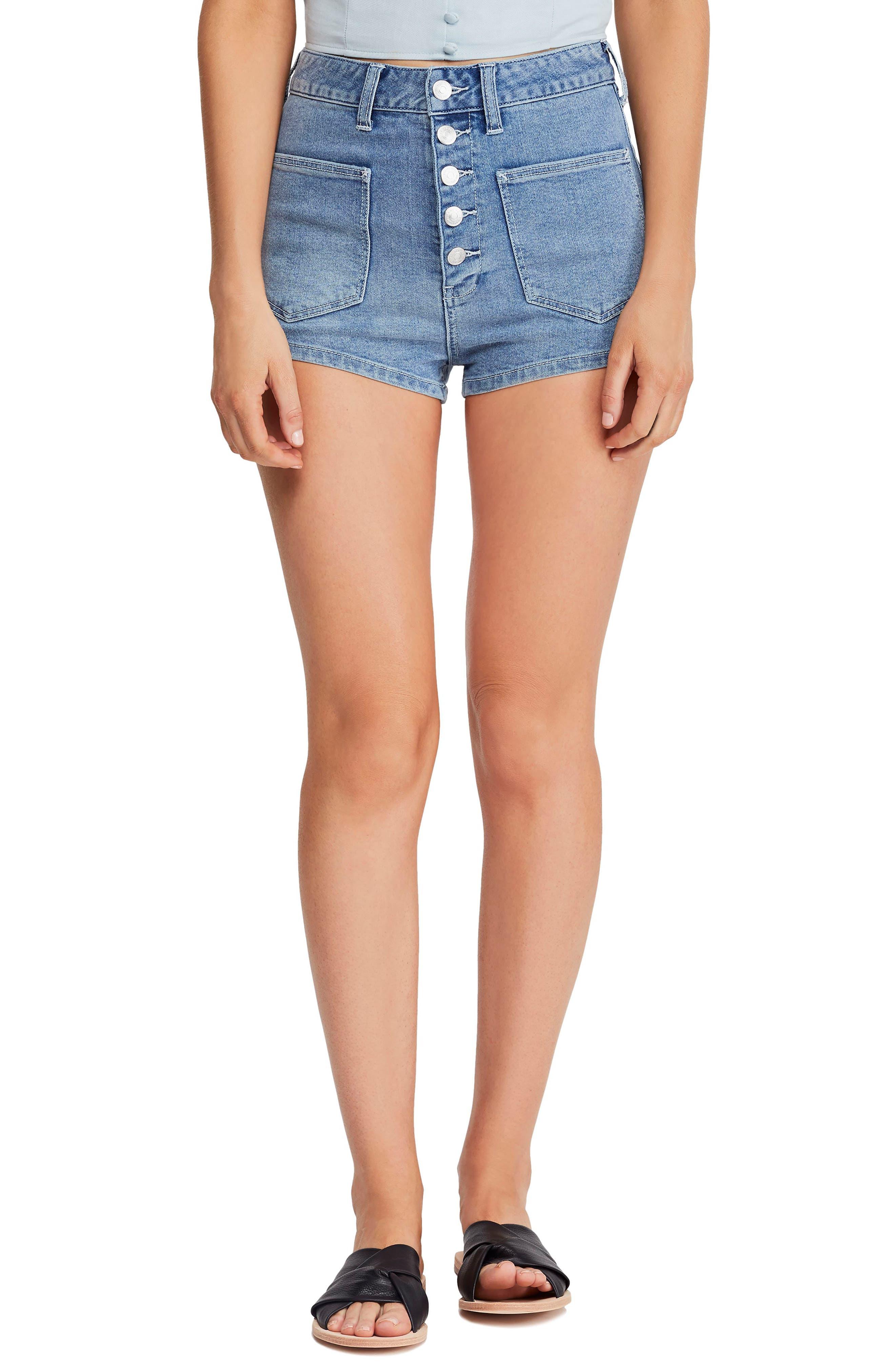 Vintage High Waisted Shorts, Sailor Shorts, Capris Womens Free People Bridgette Denim Shorts $68.00 AT vintagedancer.com