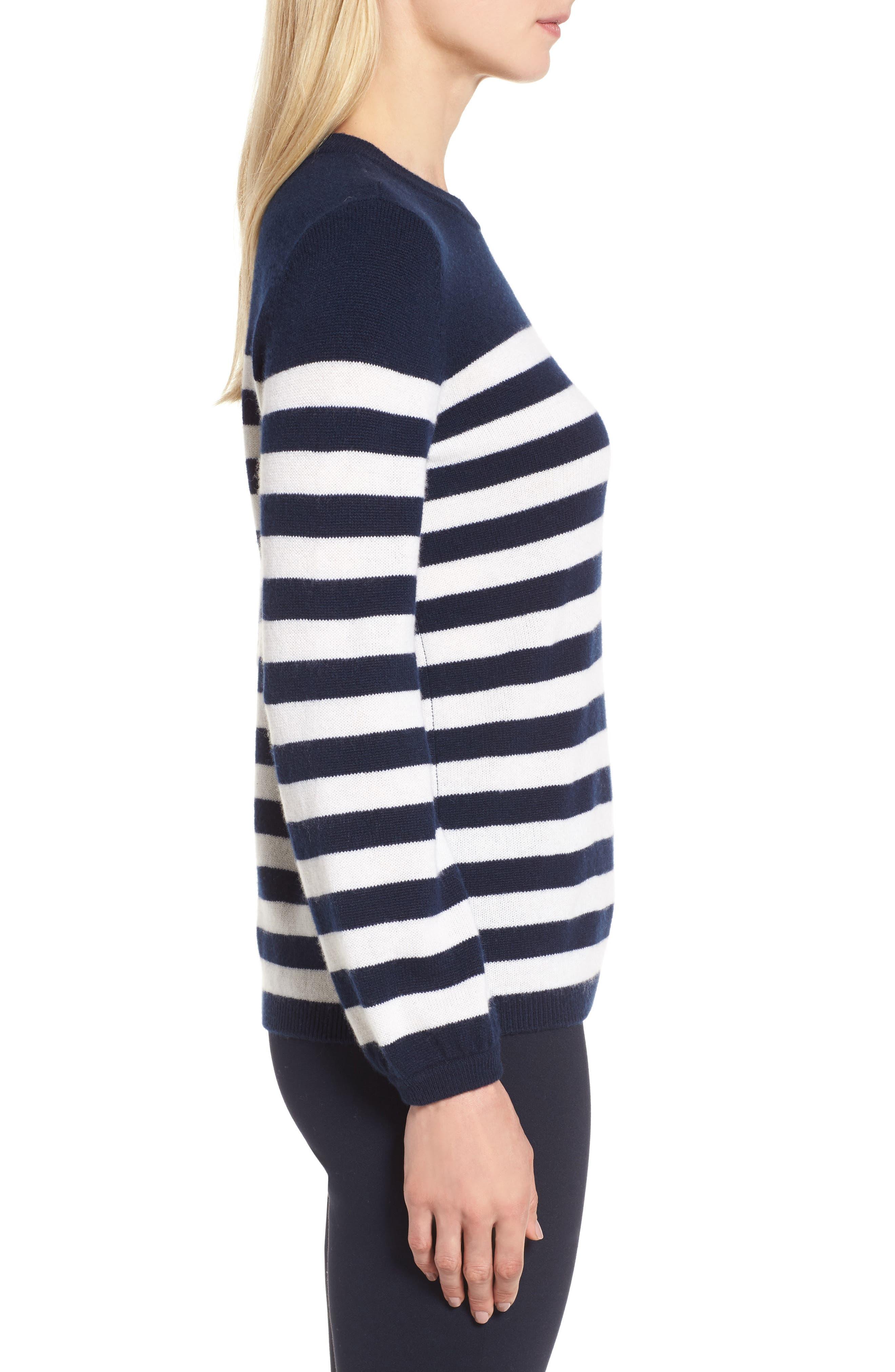 Stripe Cashmere Sweater,                             Alternate thumbnail 3, color,                             410