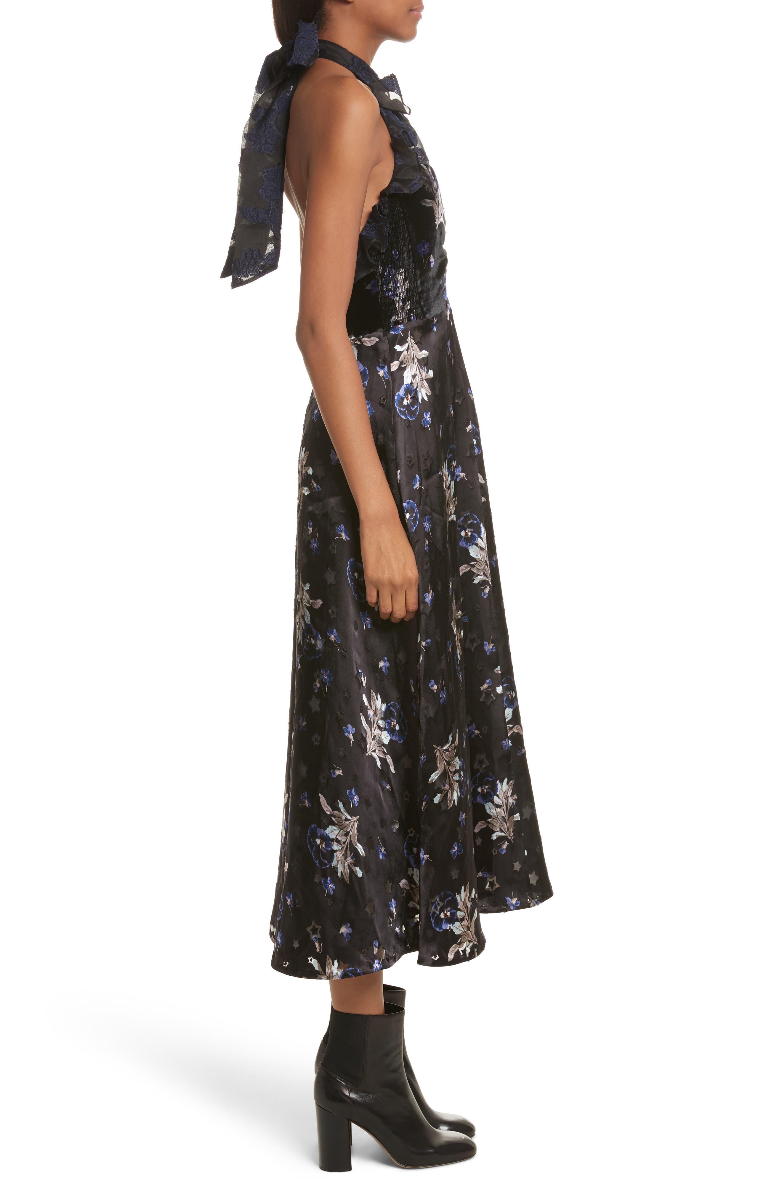 Violet Velvet Halter Dress,                             Alternate thumbnail 3, color,