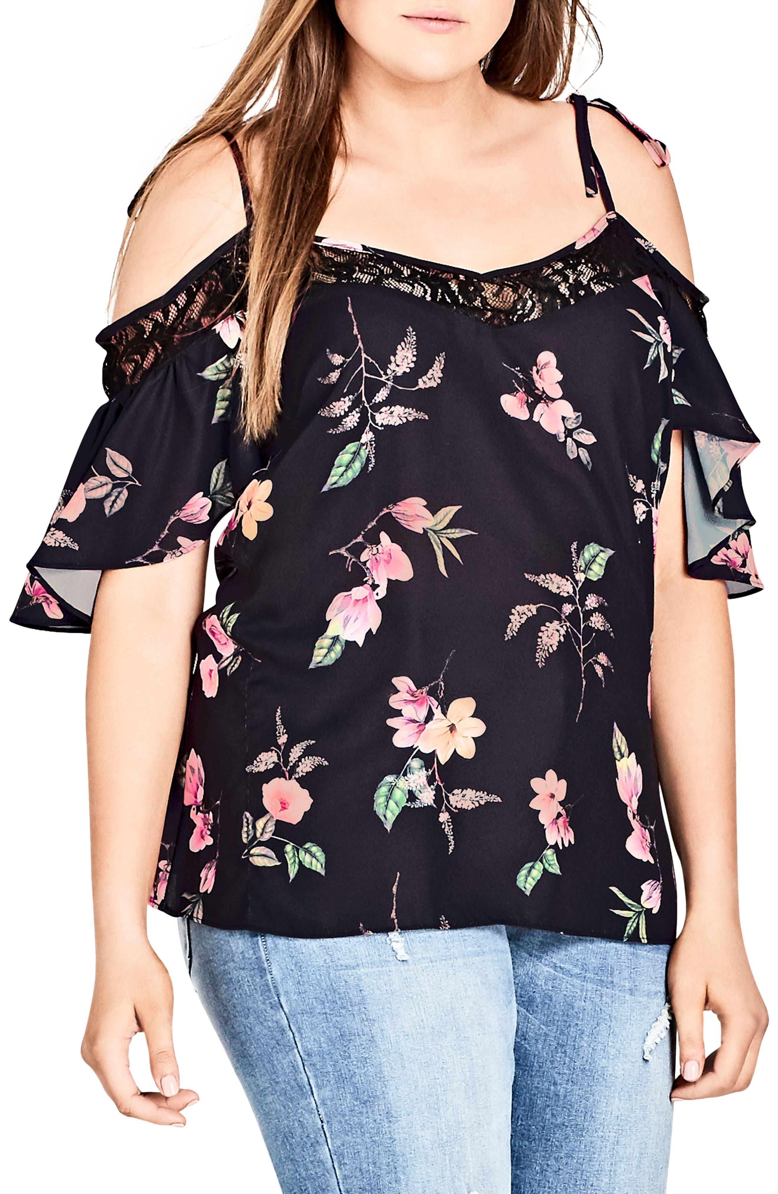 Lace Trim Floral Off the Shoulder Top,                             Alternate thumbnail 3, color,                             CAPTIVE FLORAL