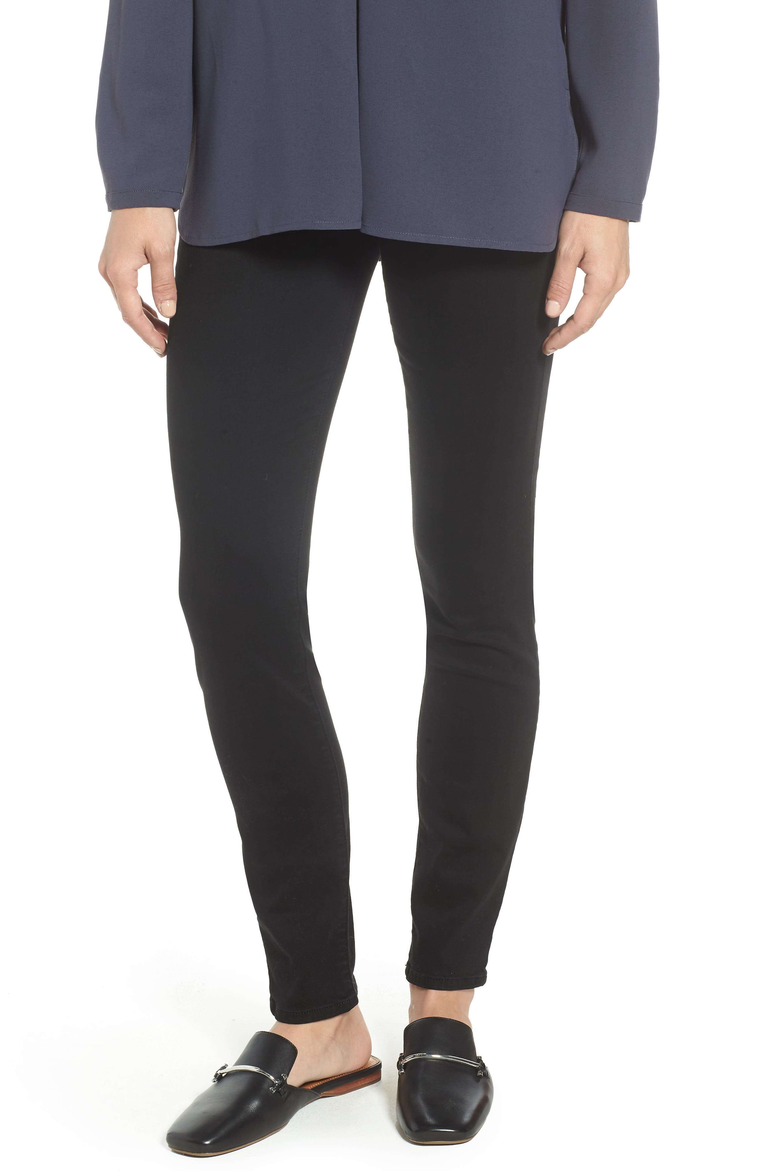 Comfort Skinny Denim Leggings,                             Main thumbnail 1, color,                             RICHE TOUCH BLACK NOIR