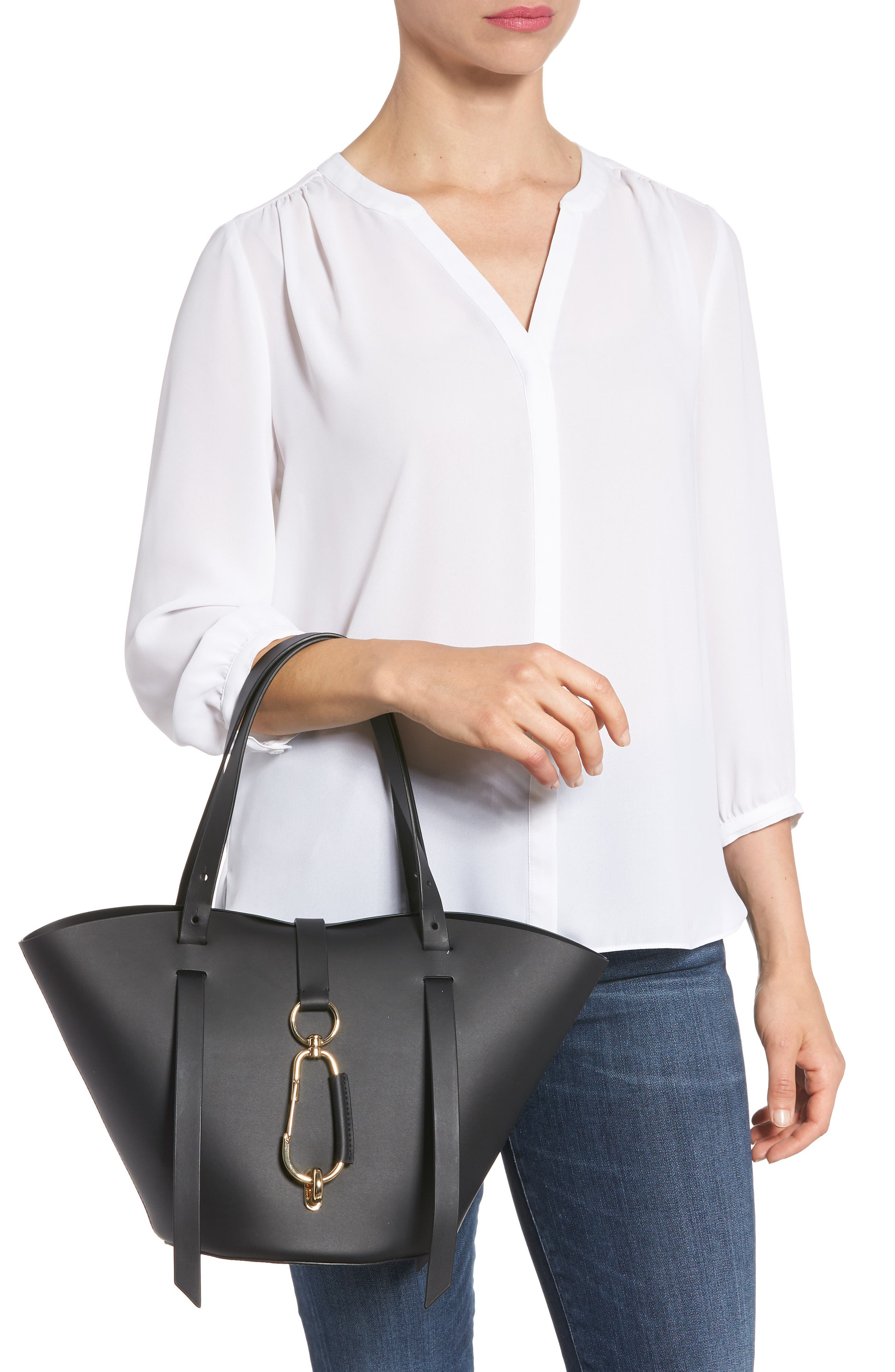 Small Belay Leather Tote,                             Alternate thumbnail 2, color,                             BLACK