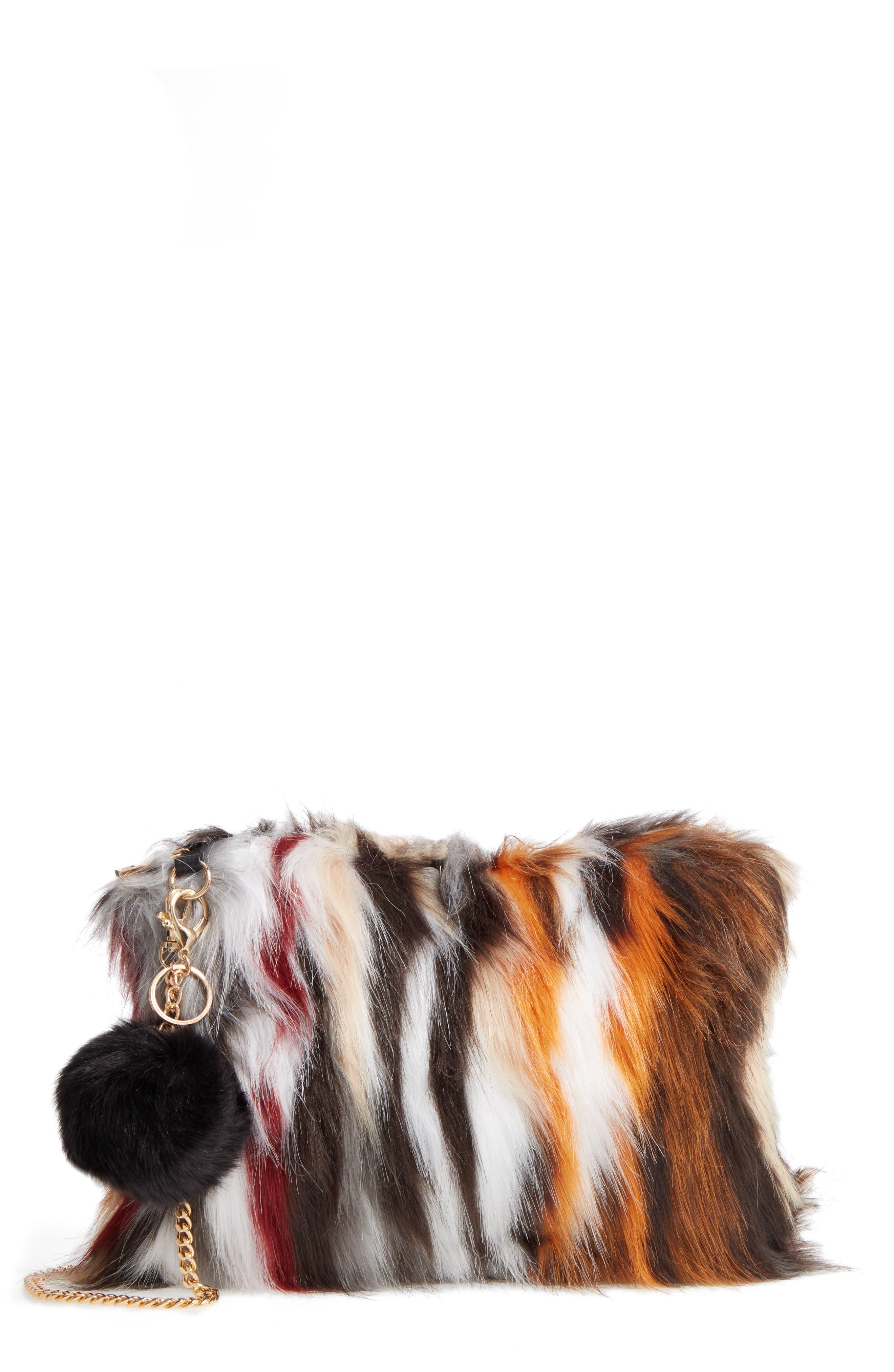 Faux Fur Clutch,                         Main,                         color,