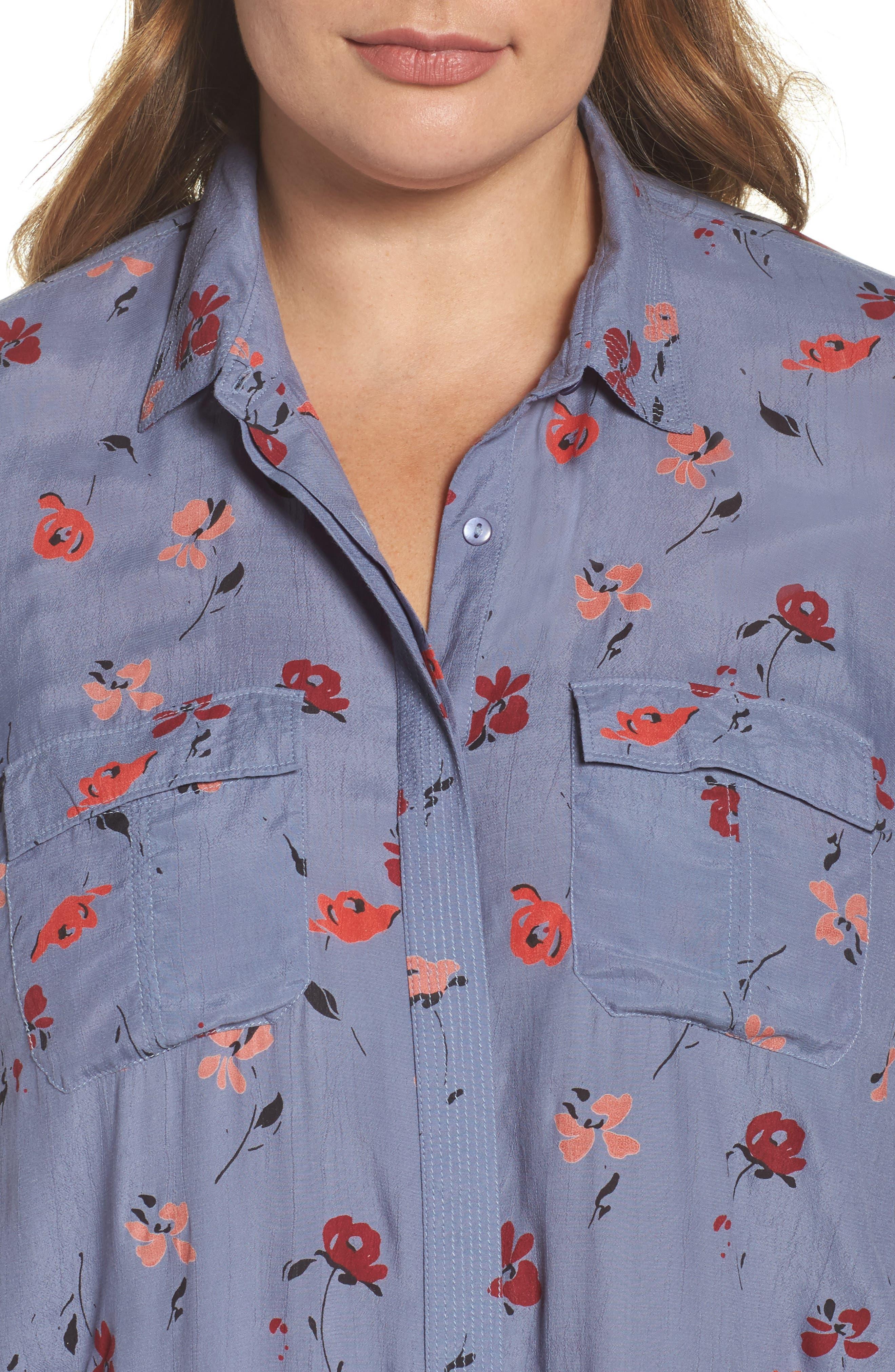 Floral Print Button Down Shirt,                             Alternate thumbnail 4, color,                             020