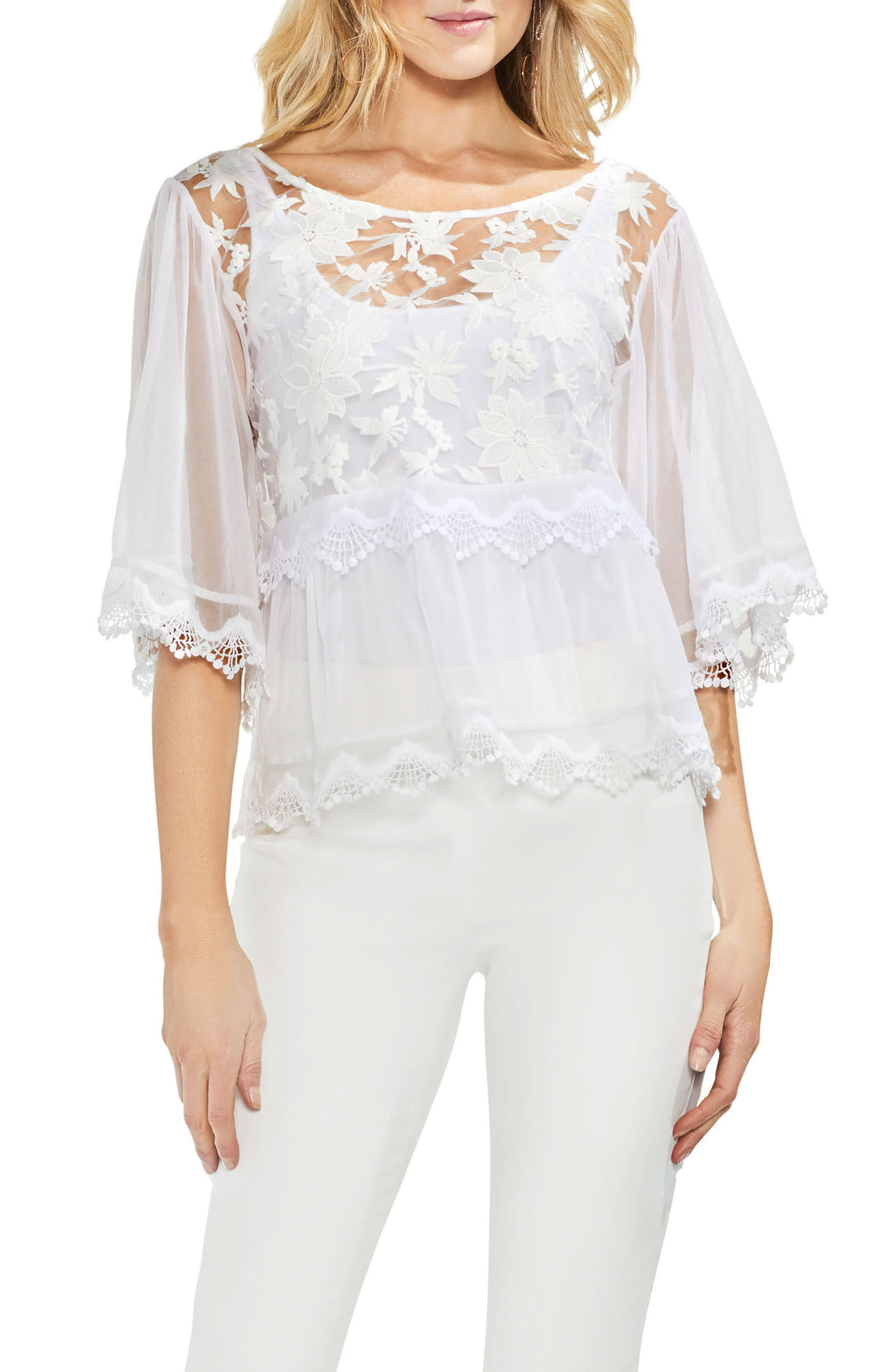 Bell Sleeve Embroidered Mesh Top,                         Main,                         color, 145