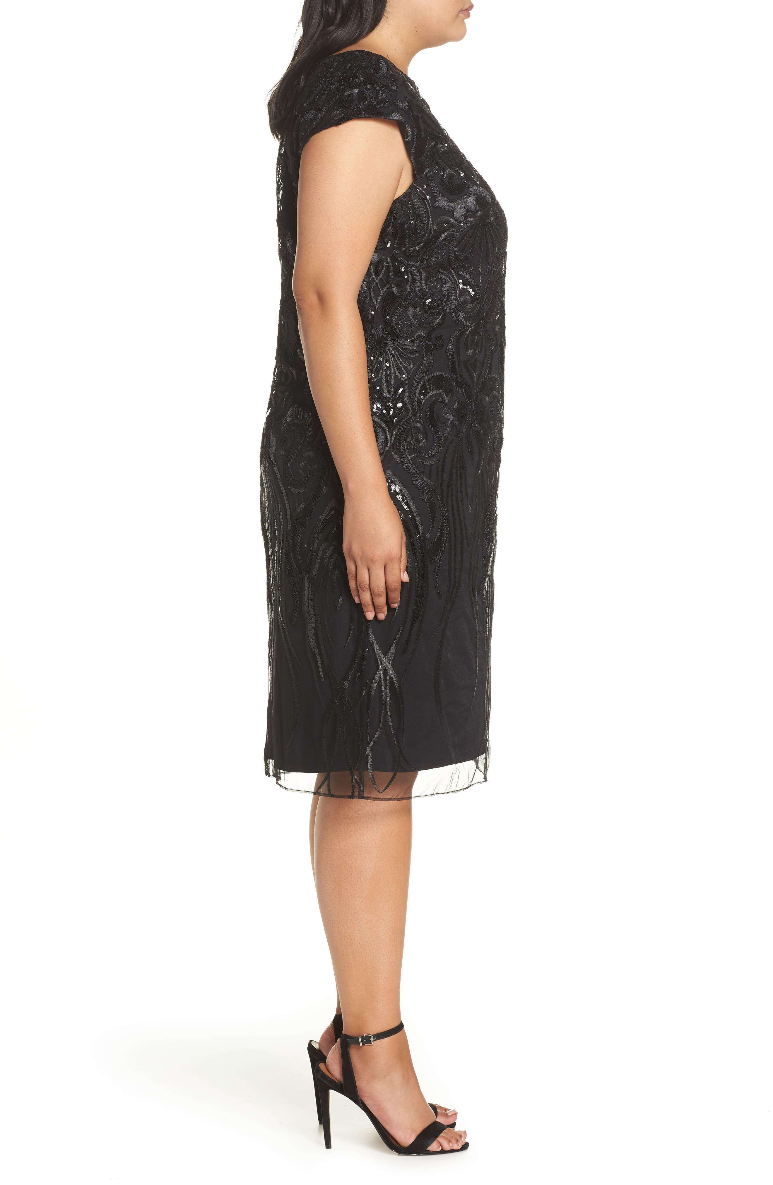Sequin Embroidered Sheath Dress,                             Alternate thumbnail 3, color,                             001