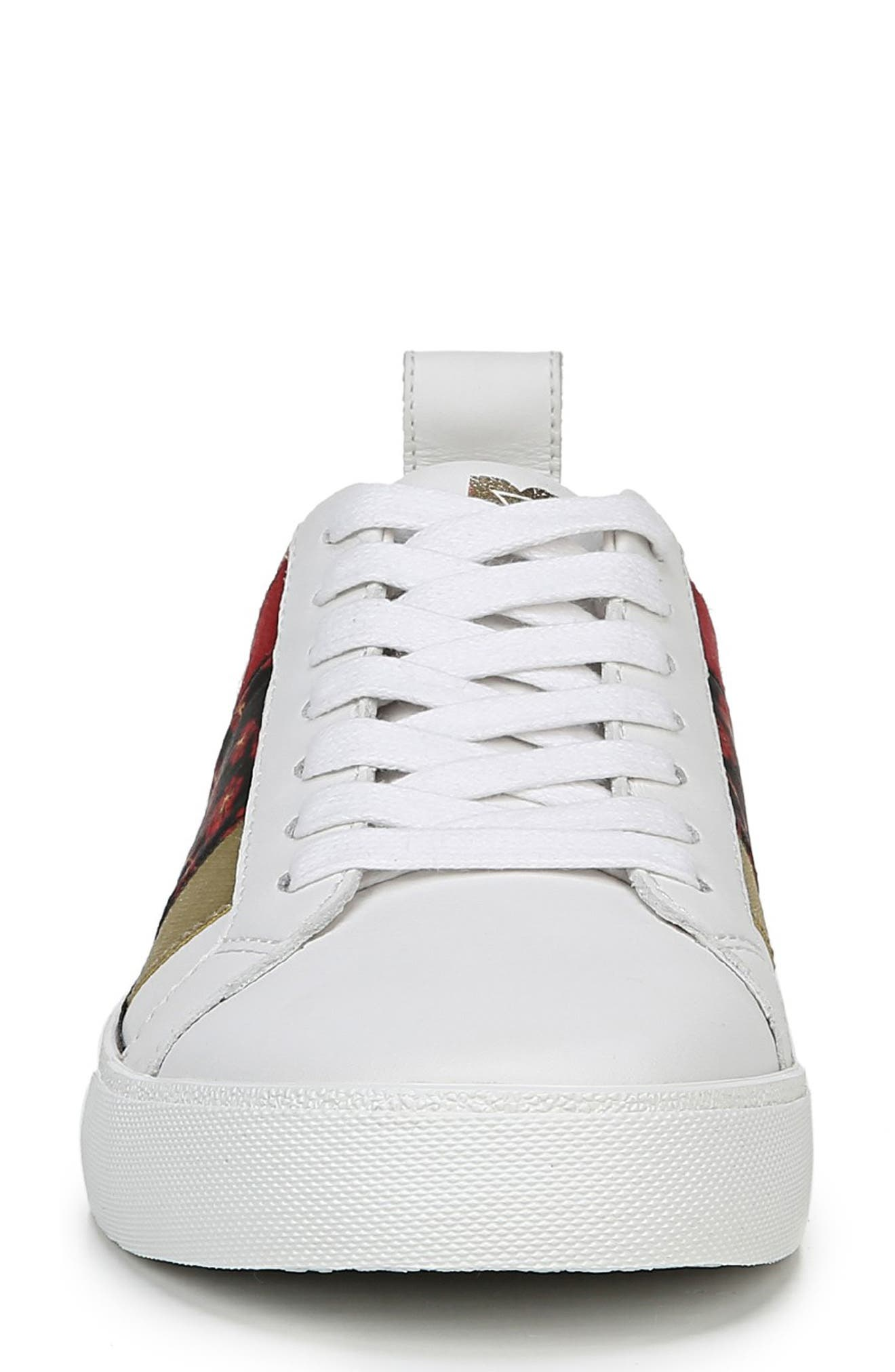 Tess Lace-Up Sneaker,                             Alternate thumbnail 4, color,                             WHITE/ RED