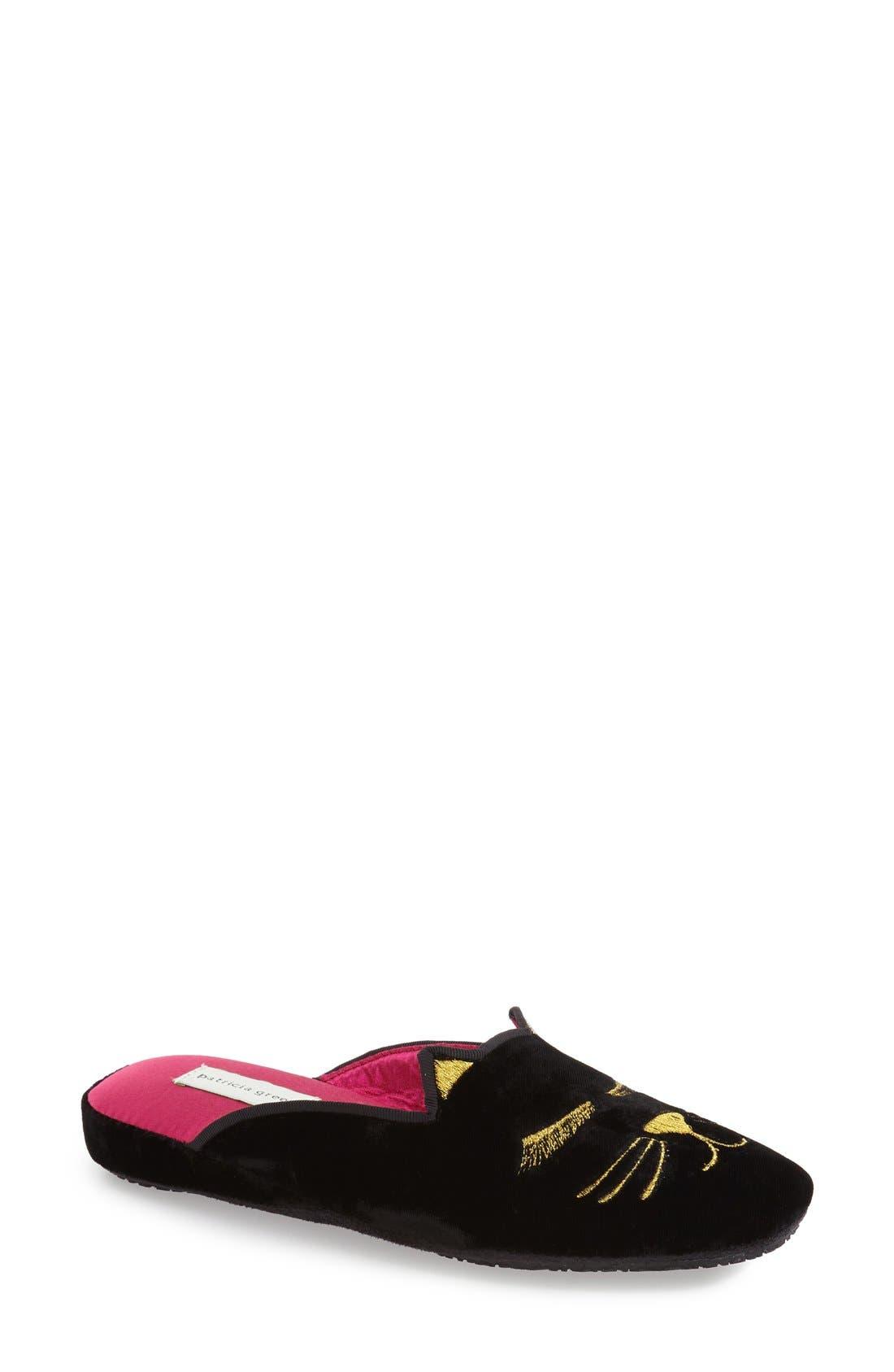 'Demure Kitty' Slipper,                         Main,                         color, BLACK VELVET