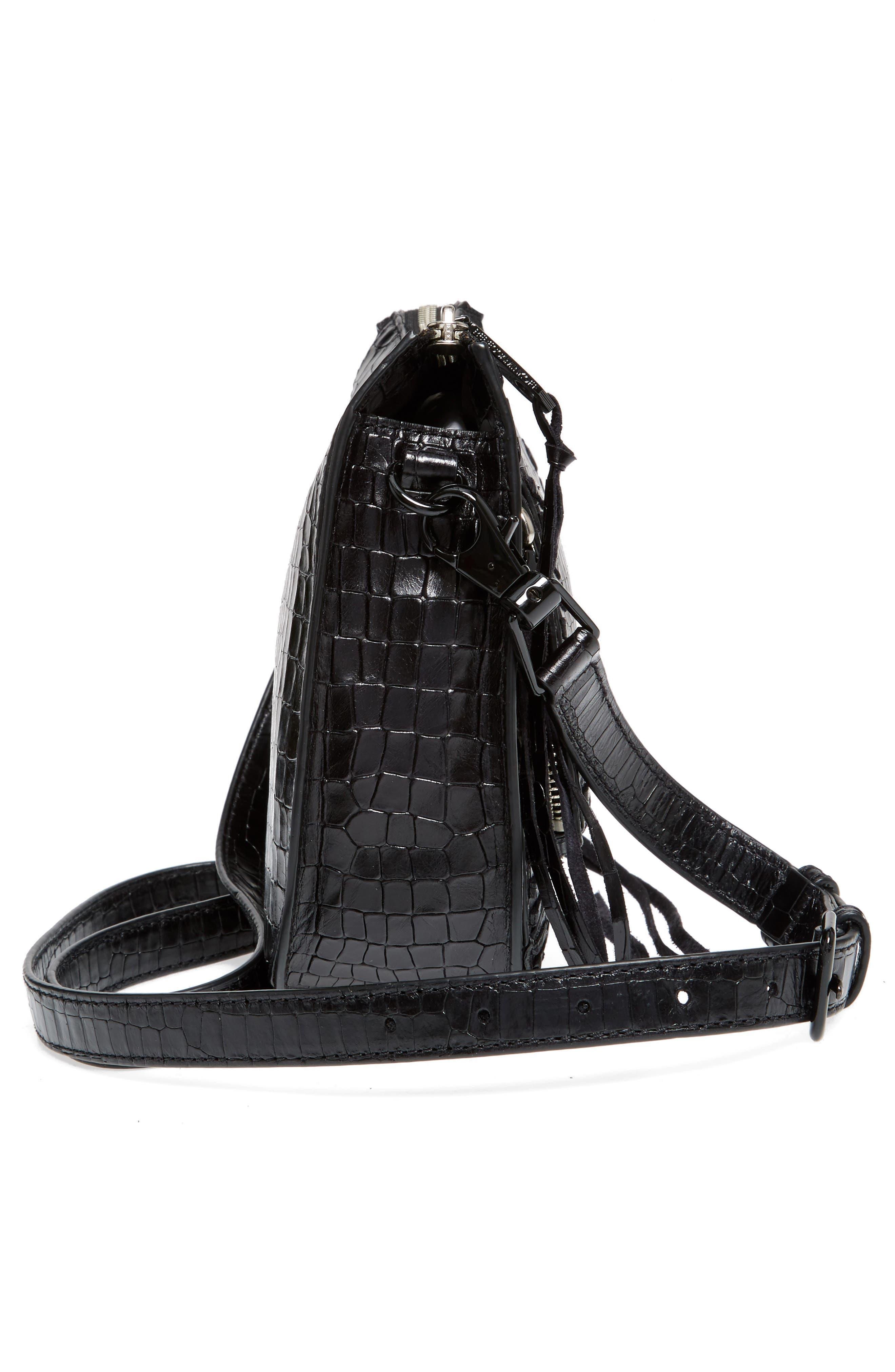 Vanity Croc-Embossed Leather Saddle Bag,                             Alternate thumbnail 5, color,