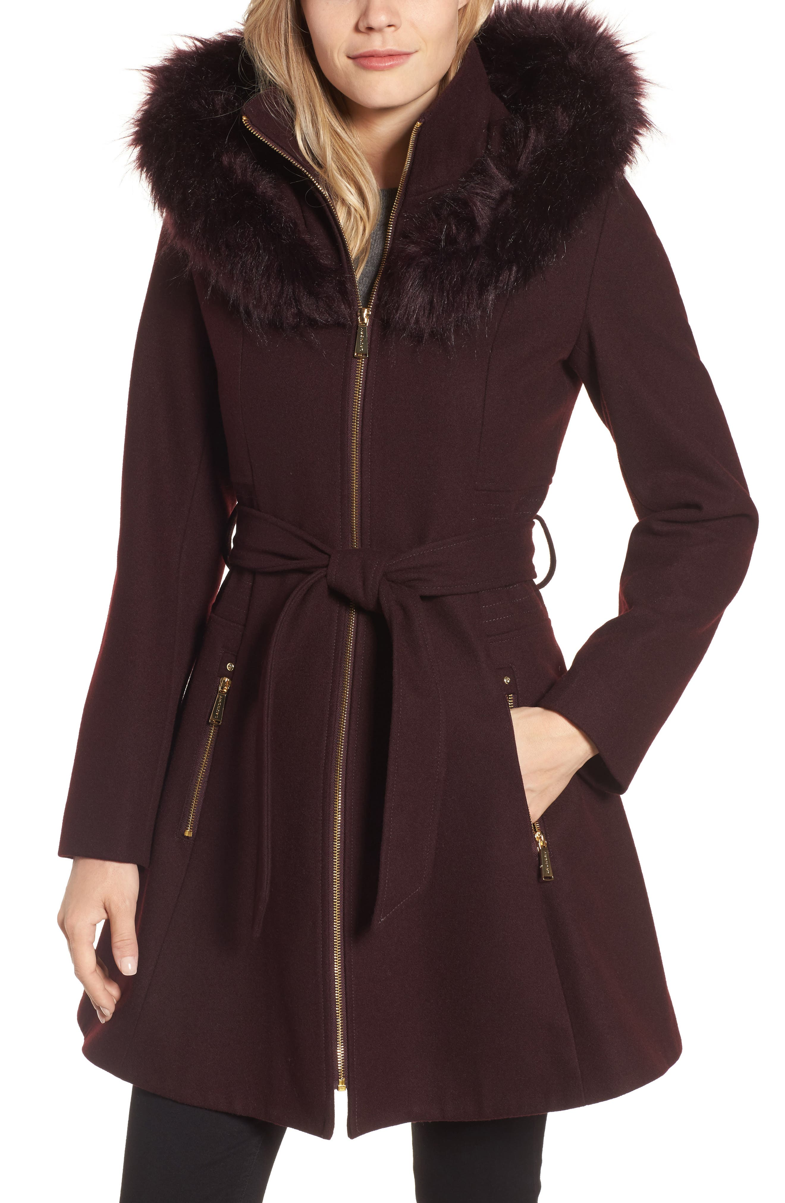 Belted Fit & Flare Coat with Faux Fur Trim,                             Main thumbnail 3, color,