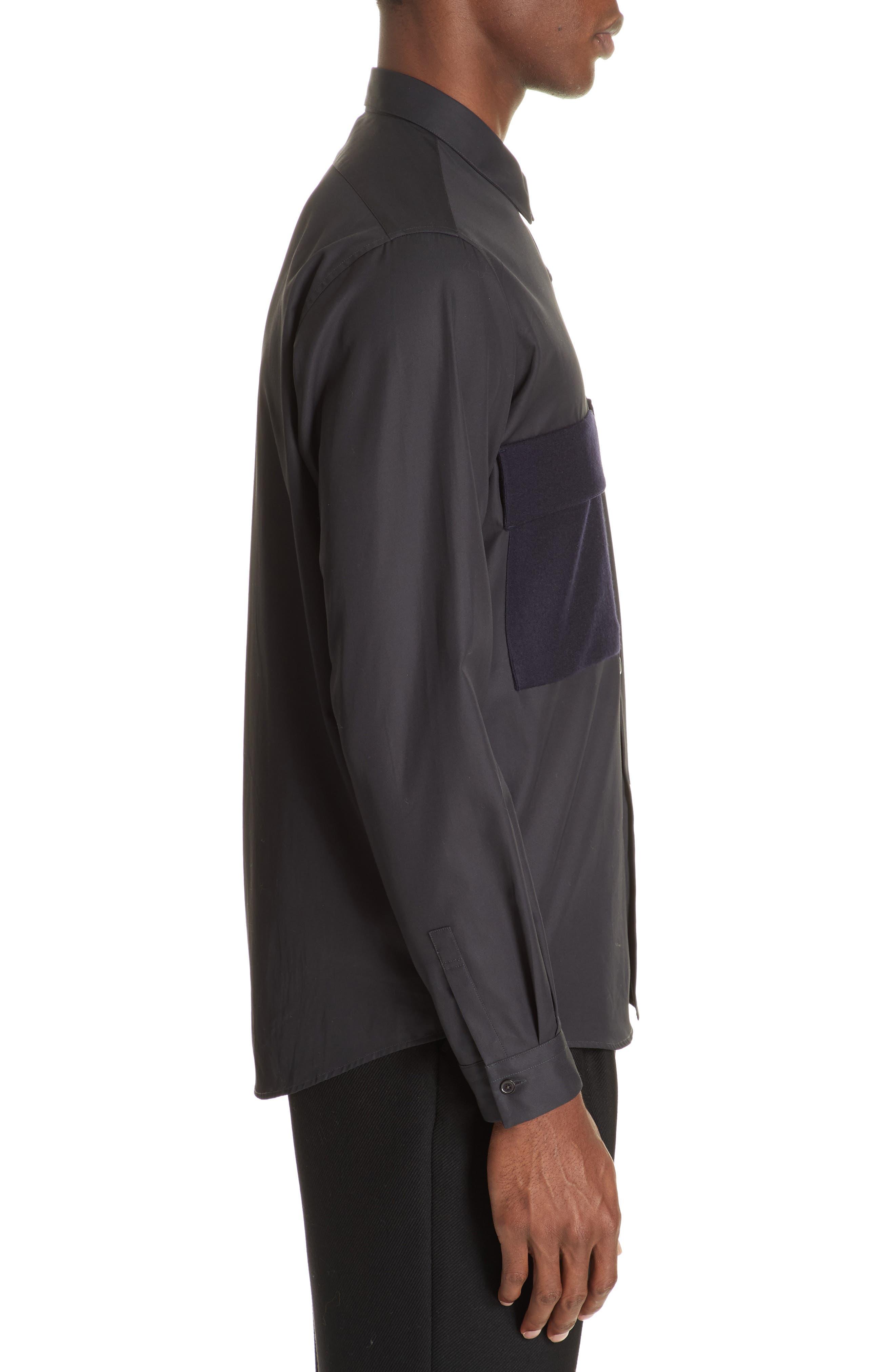 Gabardine Woven Shirt,                             Alternate thumbnail 4, color,                             NAVY