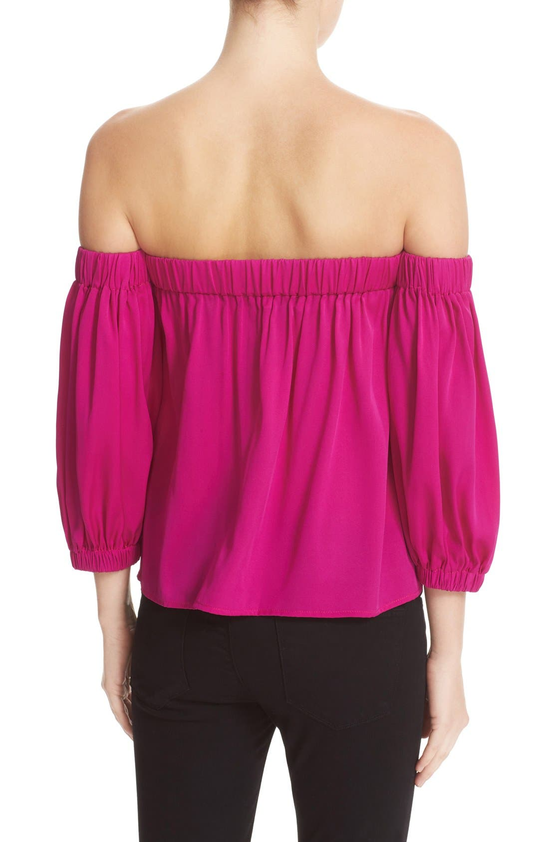 Stretch Silk Off the Shoulder Top,                             Alternate thumbnail 2, color,                             662