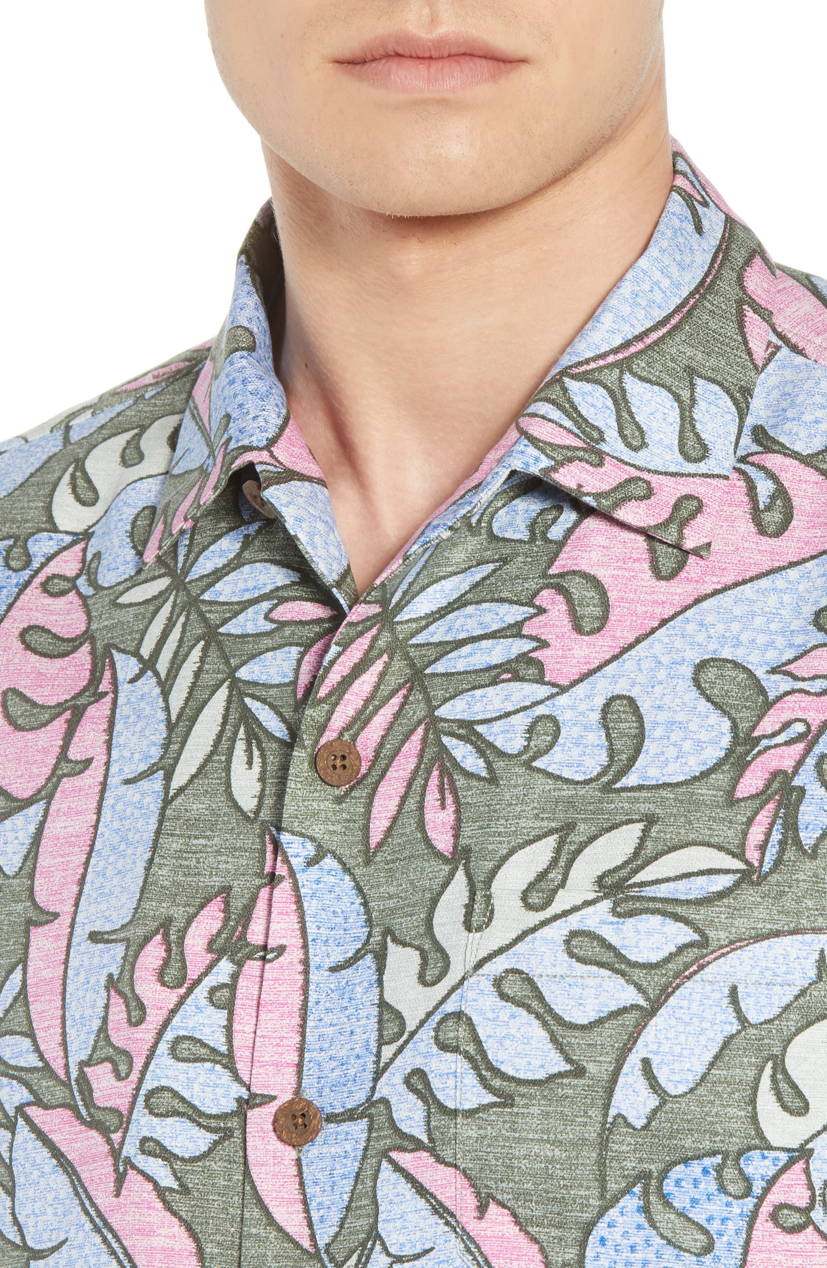 Mateo Fronds Silk Blend Camp Shirt,                             Alternate thumbnail 4, color,