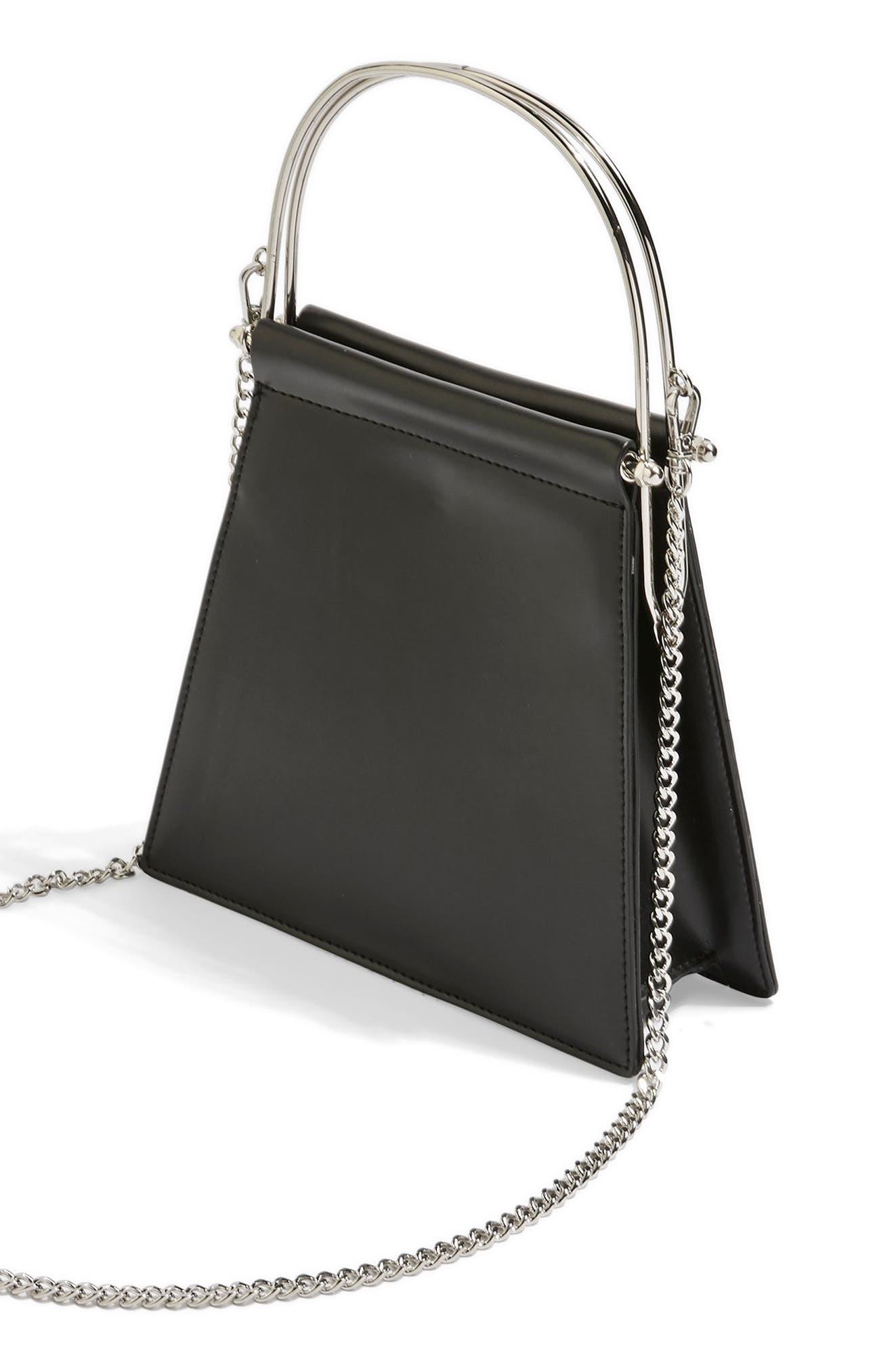 TOPSHOP,                             Lola Top Handle Bag,                             Alternate thumbnail 3, color,                             BLACK