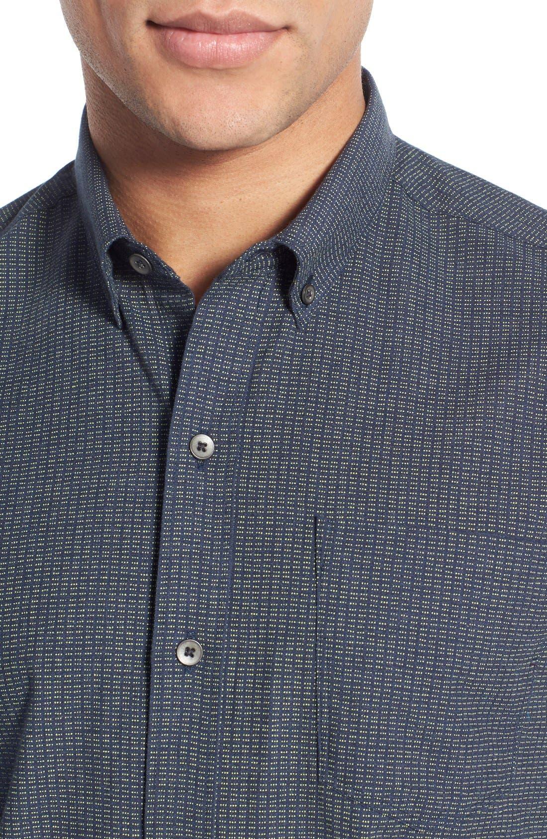 Slim Fit Dot Print Sport Shirt,                             Alternate thumbnail 4, color,                             410
