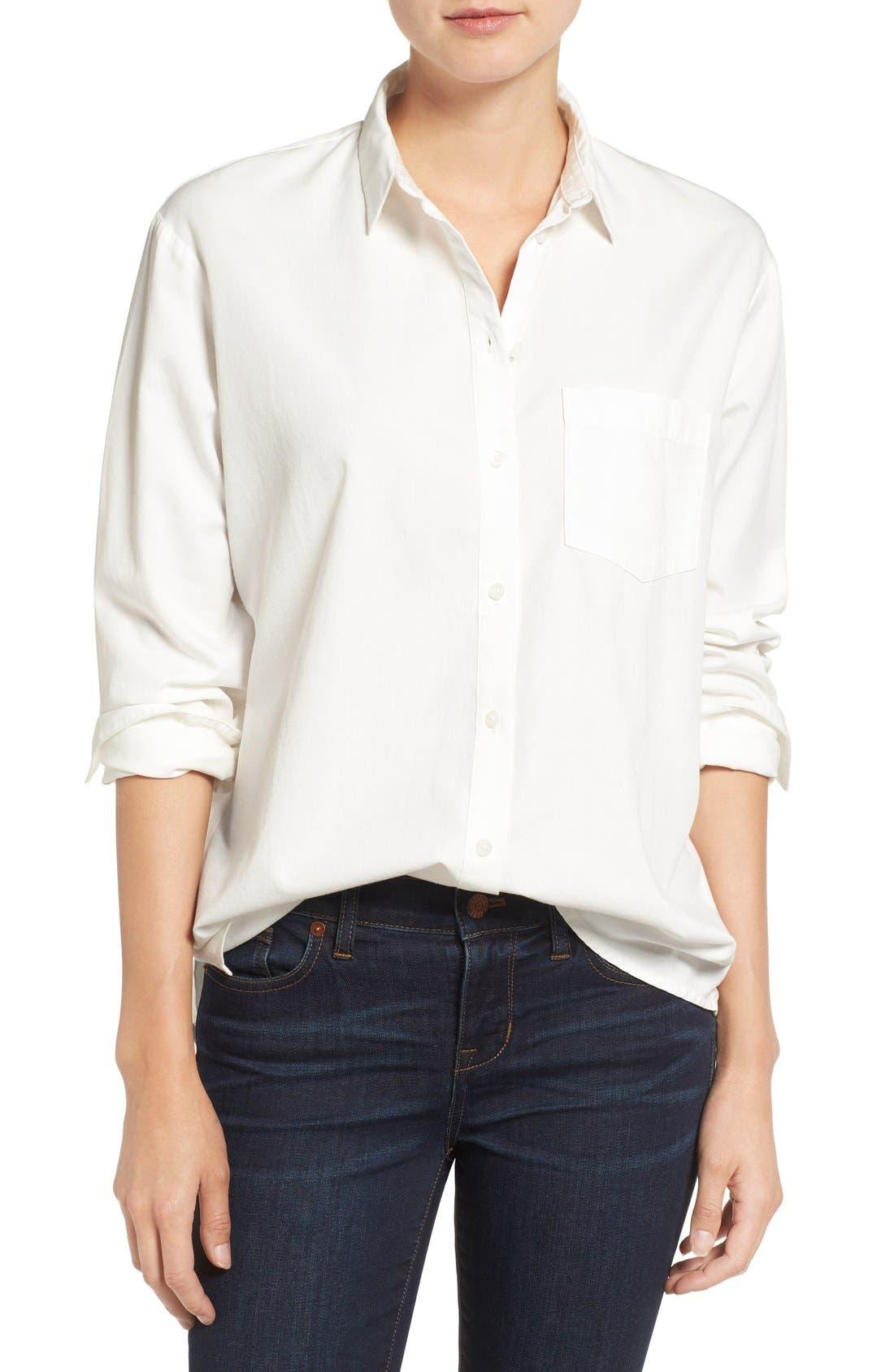 Drapey Oversize Boyshirt,                             Main thumbnail 1, color,                             PURE WHITE