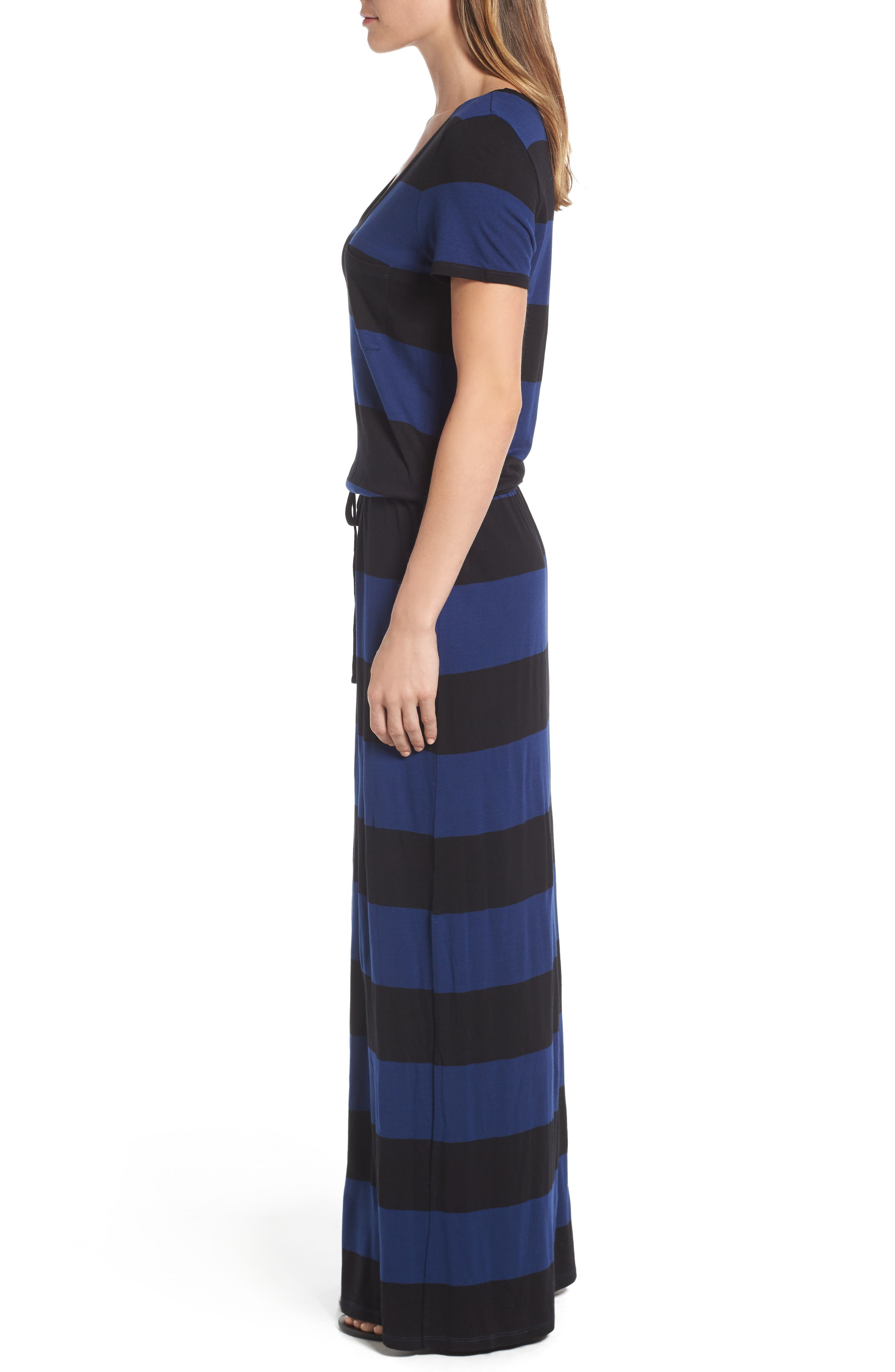 Drawstring V-Neck Jersey Maxi Dress,                             Alternate thumbnail 25, color,